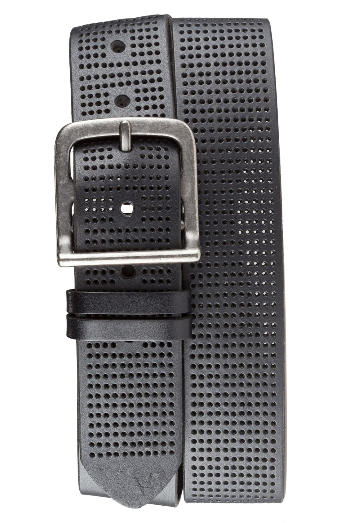 Perforated Leather Belt,                         Main,                         color, Black