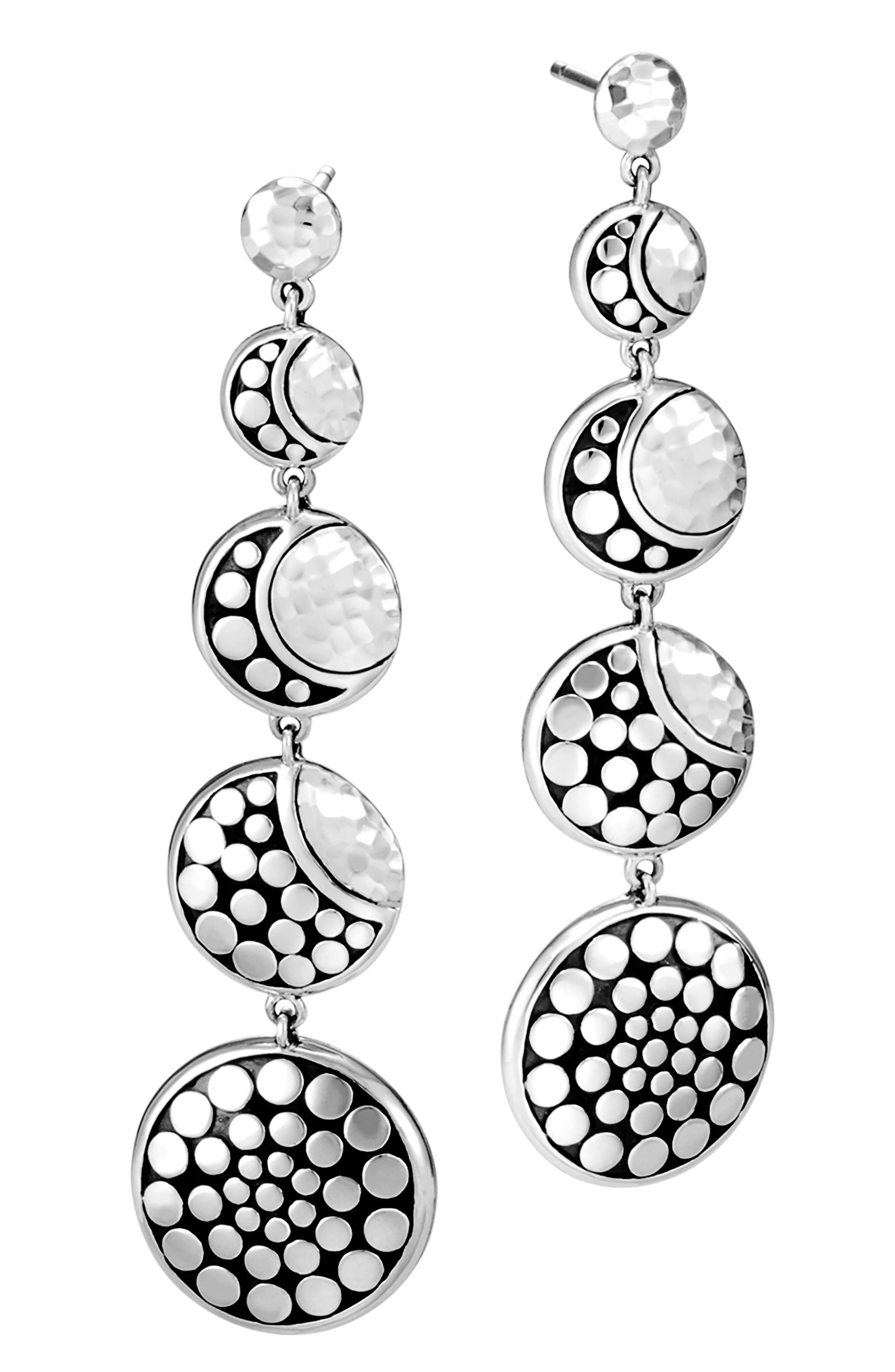 Dot Hammered Drop Earrings,                         Main,                         color, Silver