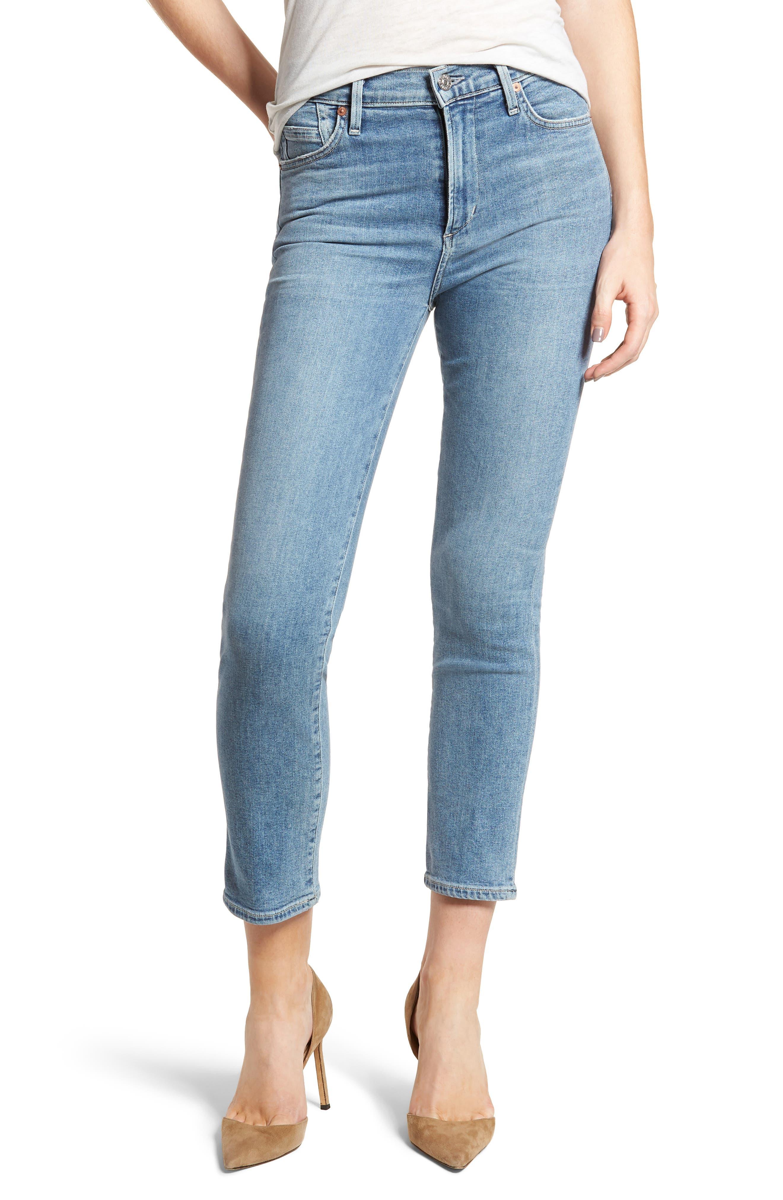 Cara Ankle Cigarette Jeans,                         Main,                         color, Firestone
