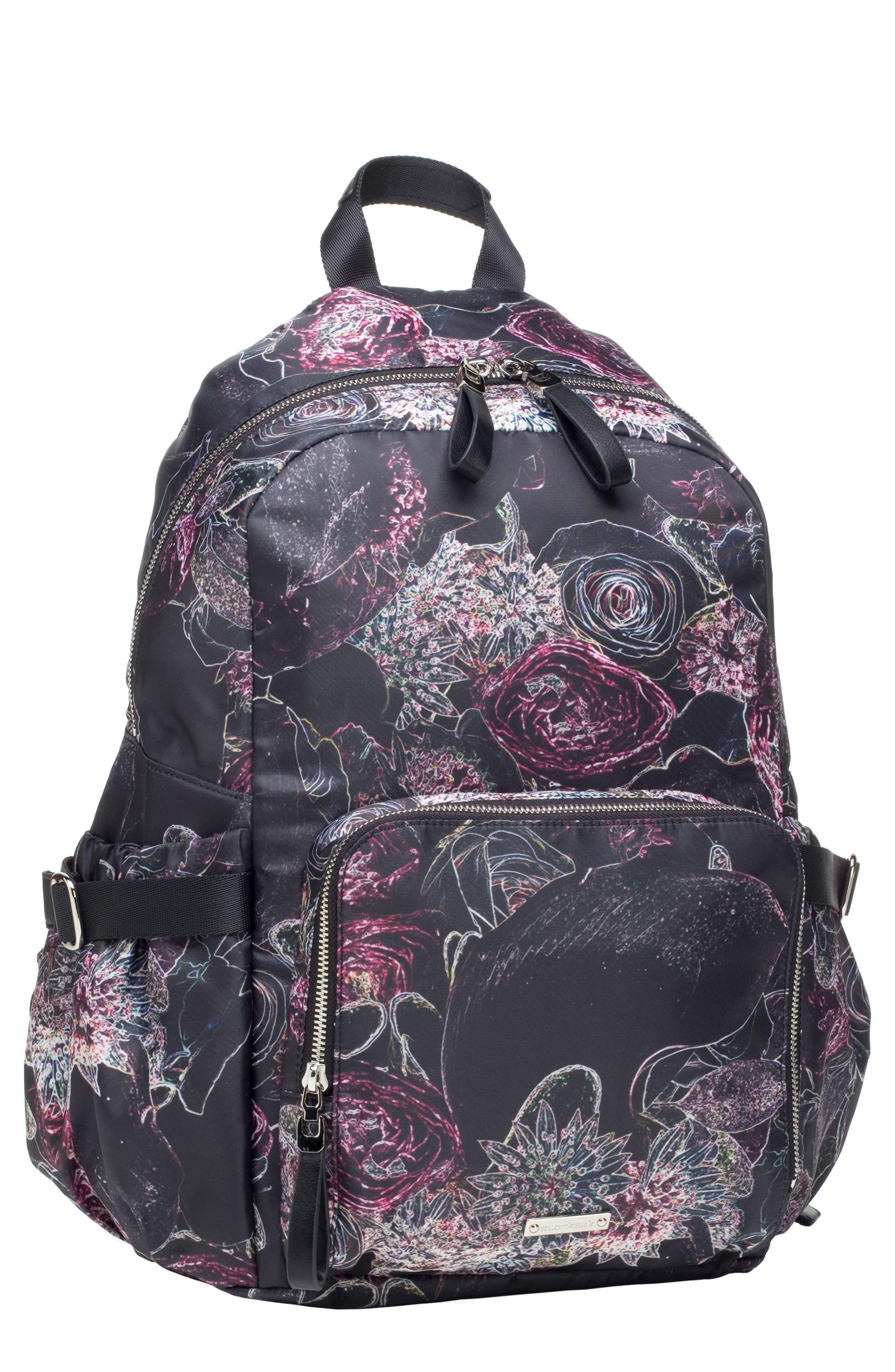 Hero Water Resistant Nylon Backpack Diaper Bag,                             Main thumbnail 1, color,                             Neon Floral