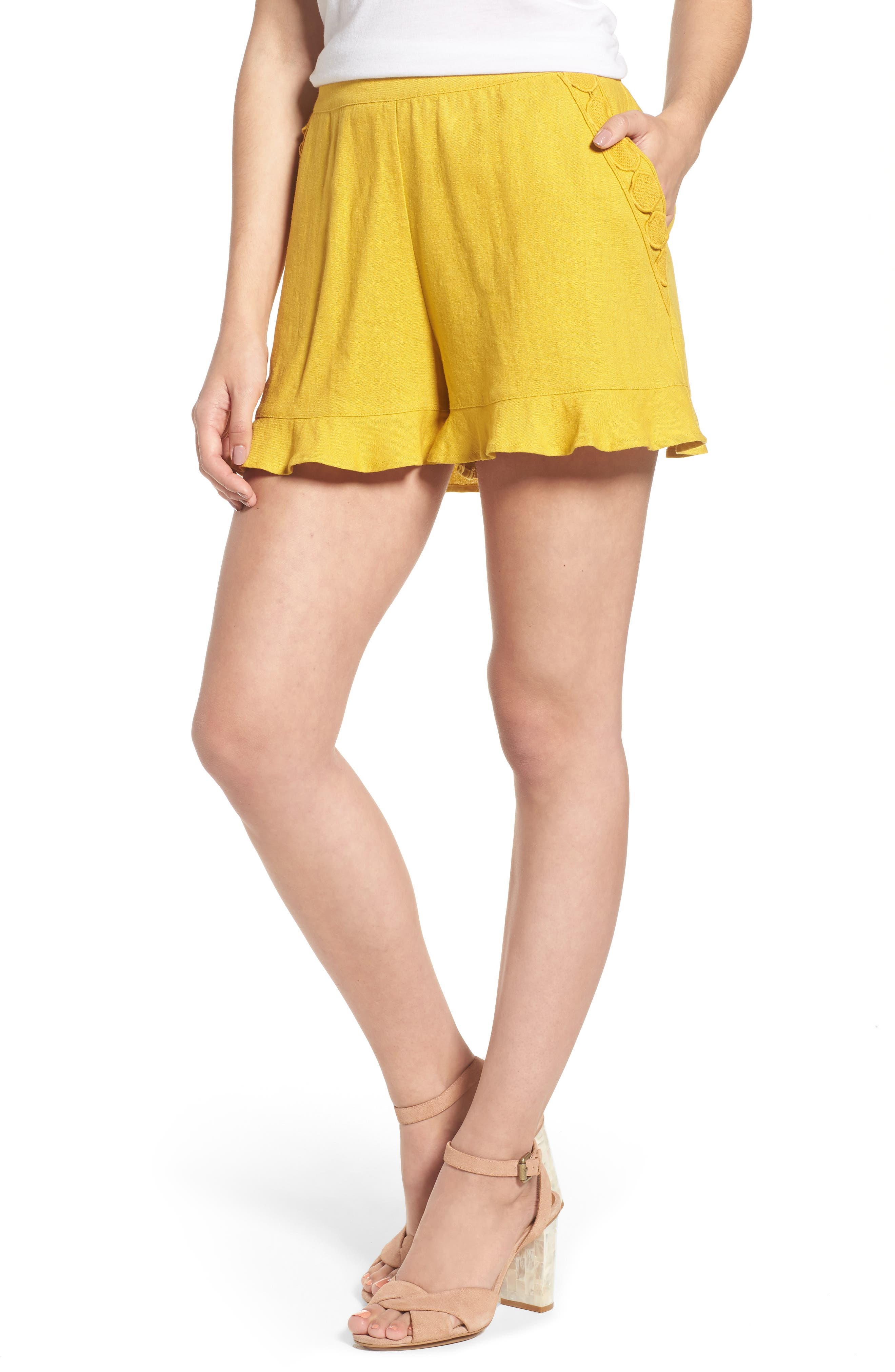 High Rise Ruffle Shorts,                         Main,                         color, Mustard