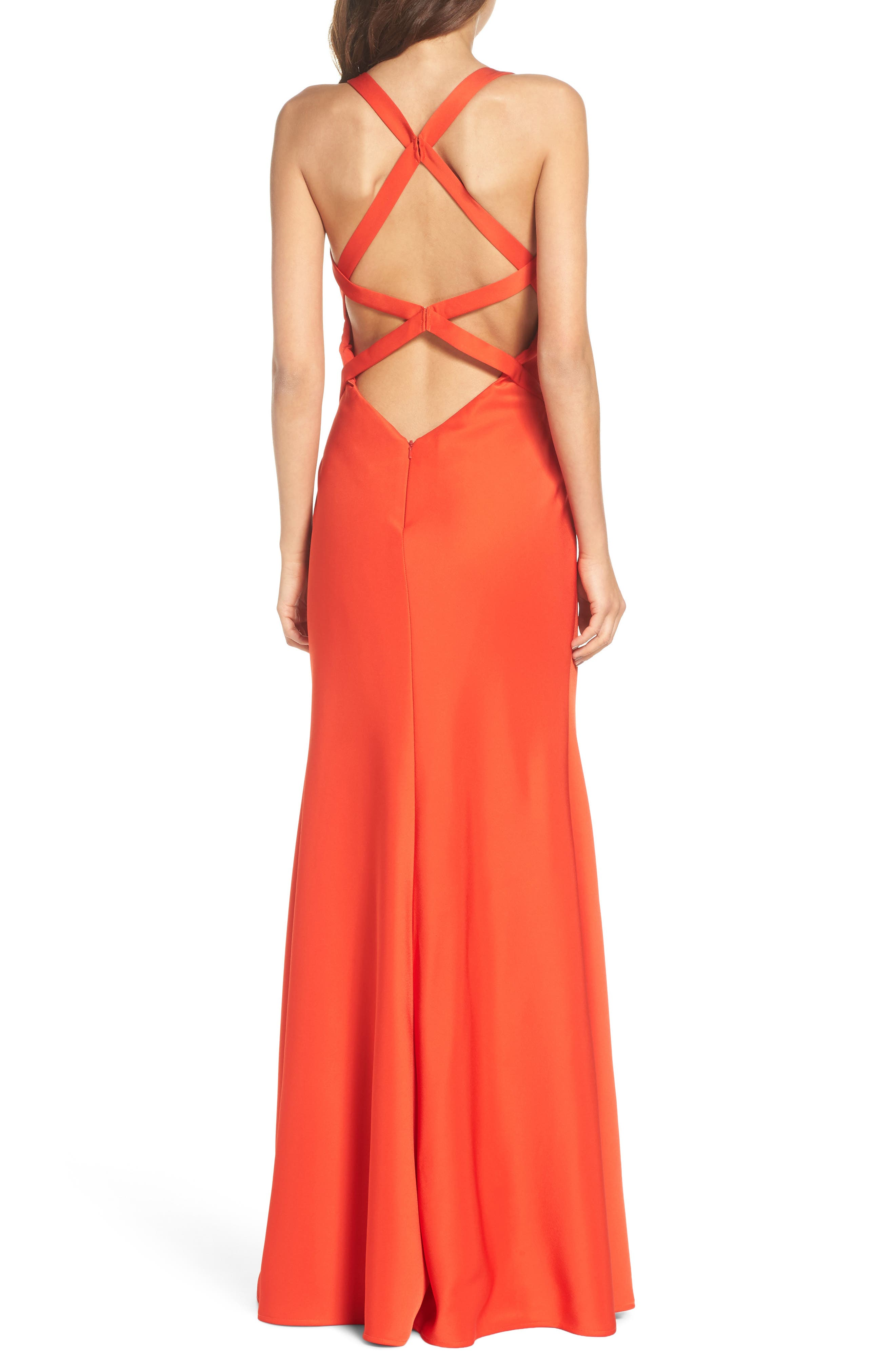 Plunge Neck Satin Gown,                             Alternate thumbnail 2, color,                             Poppy Red