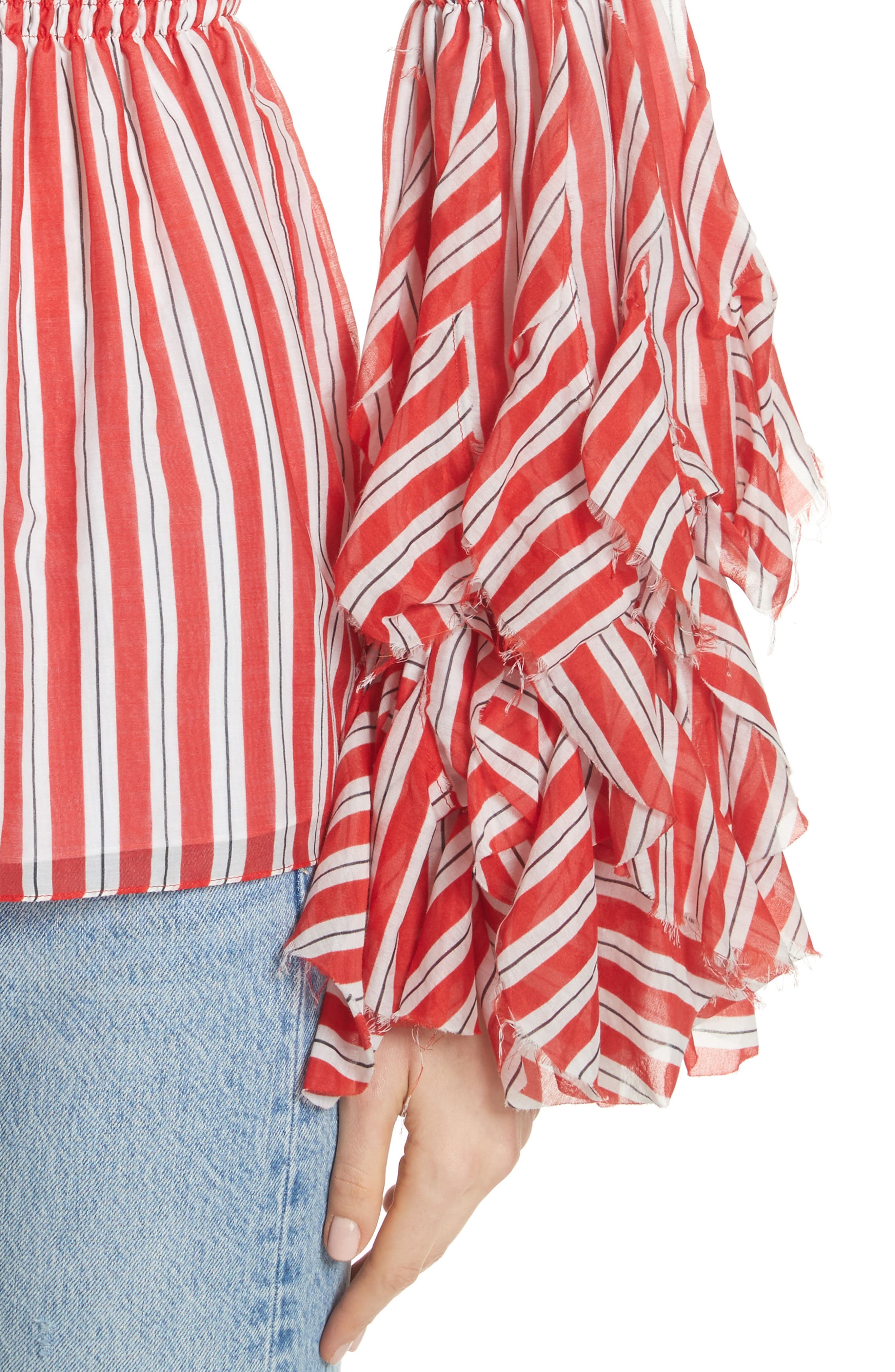 Alessandra Off the Shoulder Silk Top,                             Alternate thumbnail 4, color,                             Red