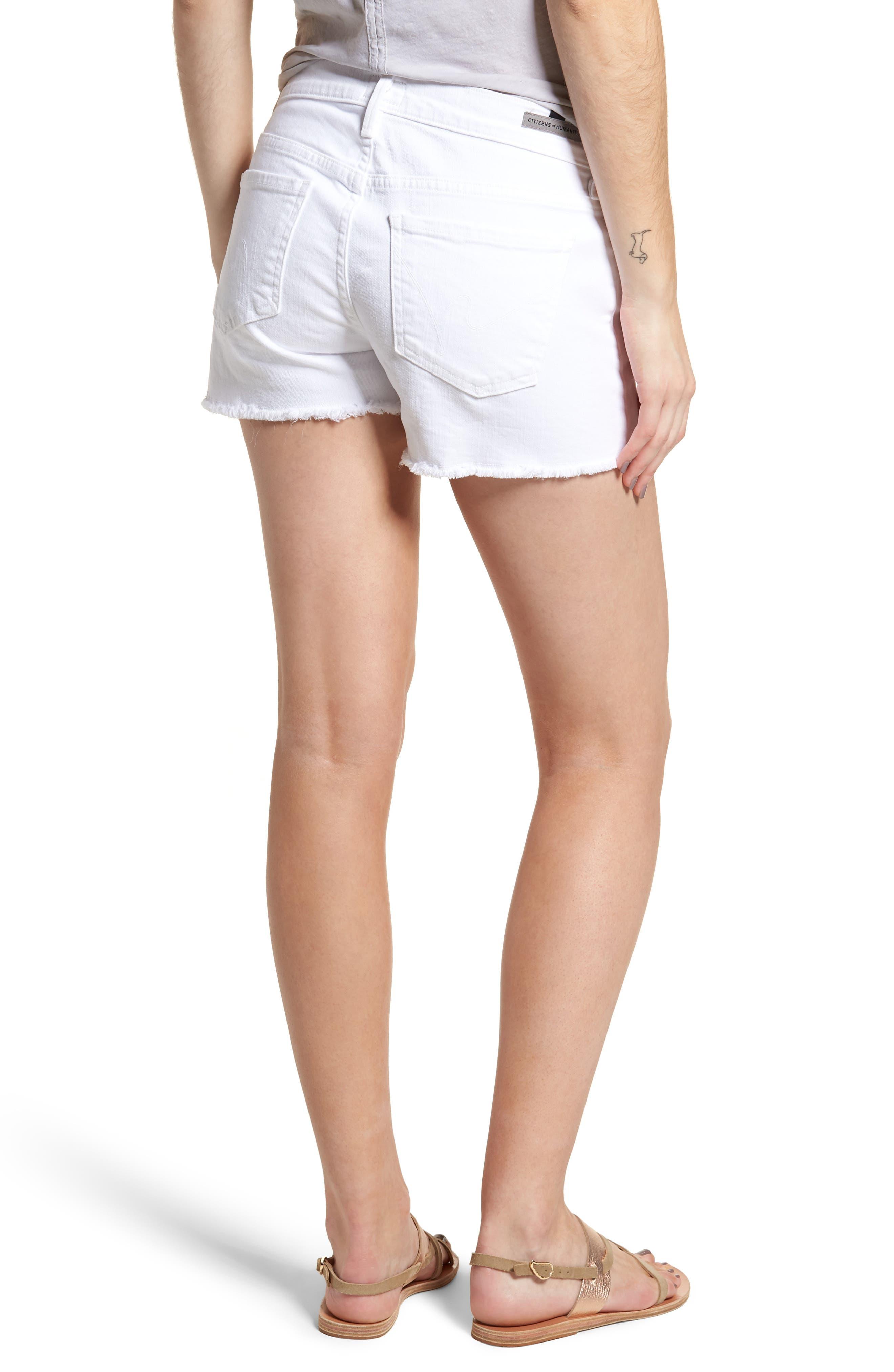 Ava Cutoff Denim Shorts,                             Alternate thumbnail 2, color,                             Optic White