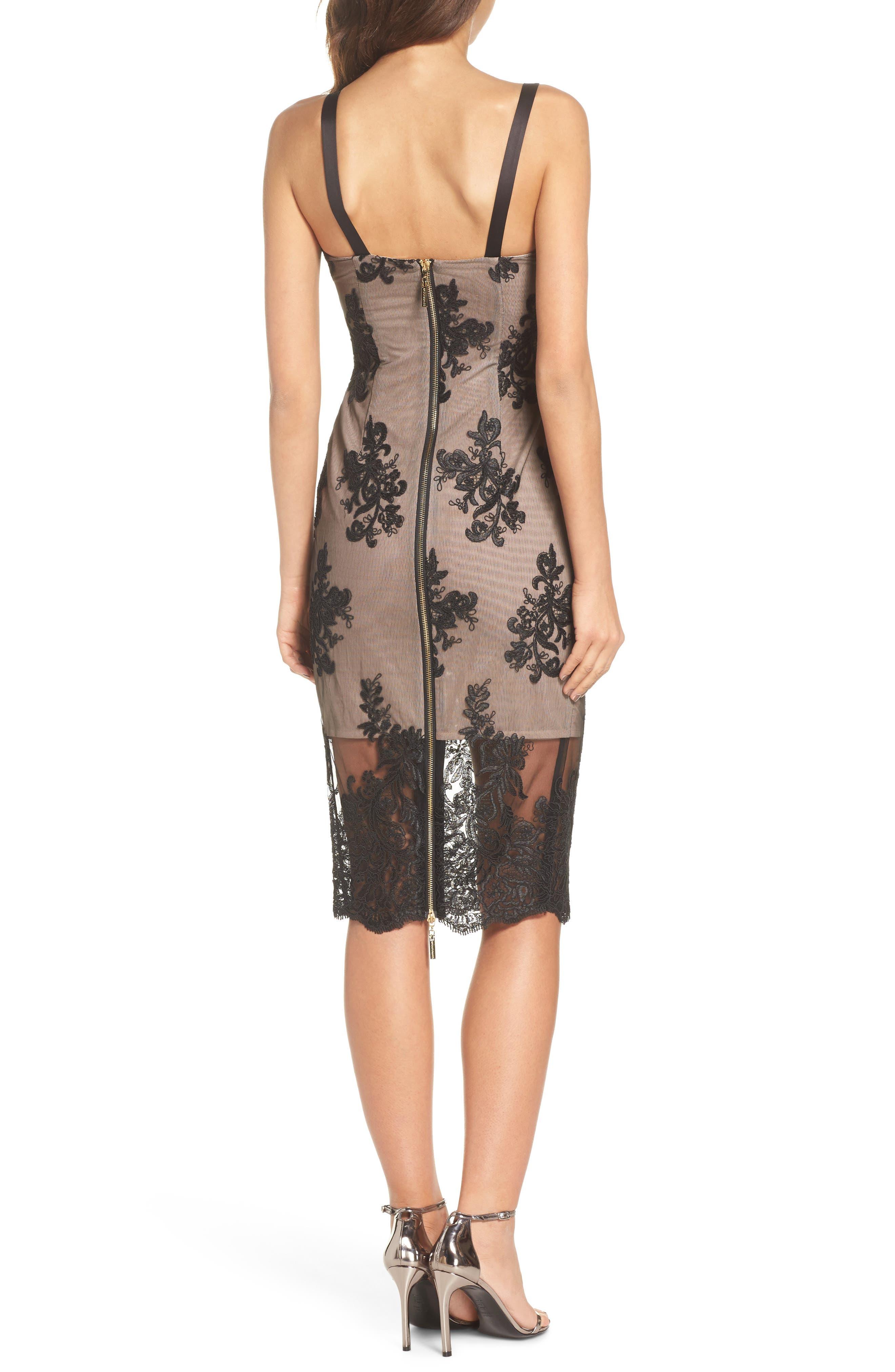 Camilla Lace Sheath Dress,                             Alternate thumbnail 2, color,                             Black