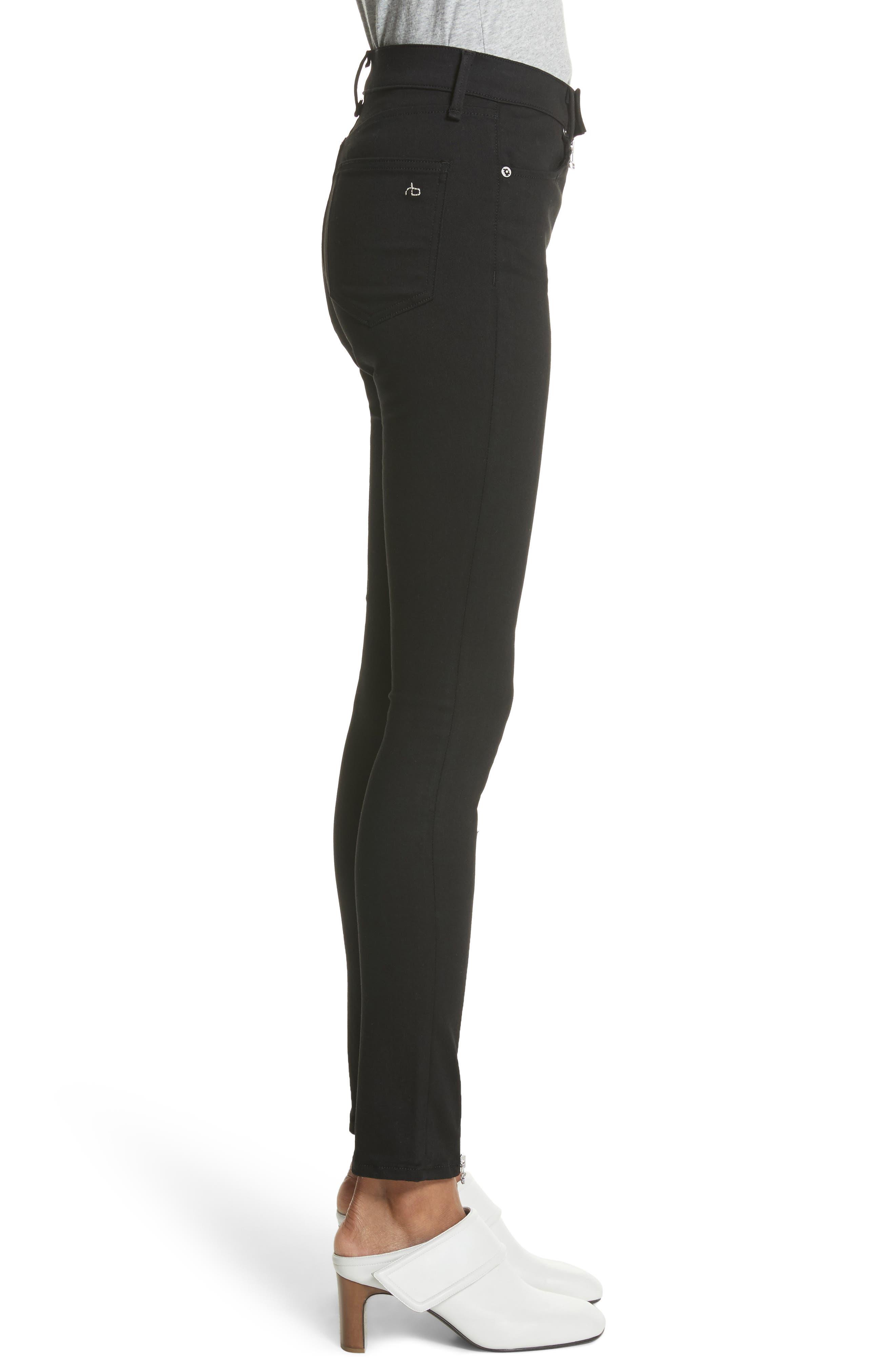 Isabel High Waist Skinny Jeans,                             Alternate thumbnail 3, color,                             Black