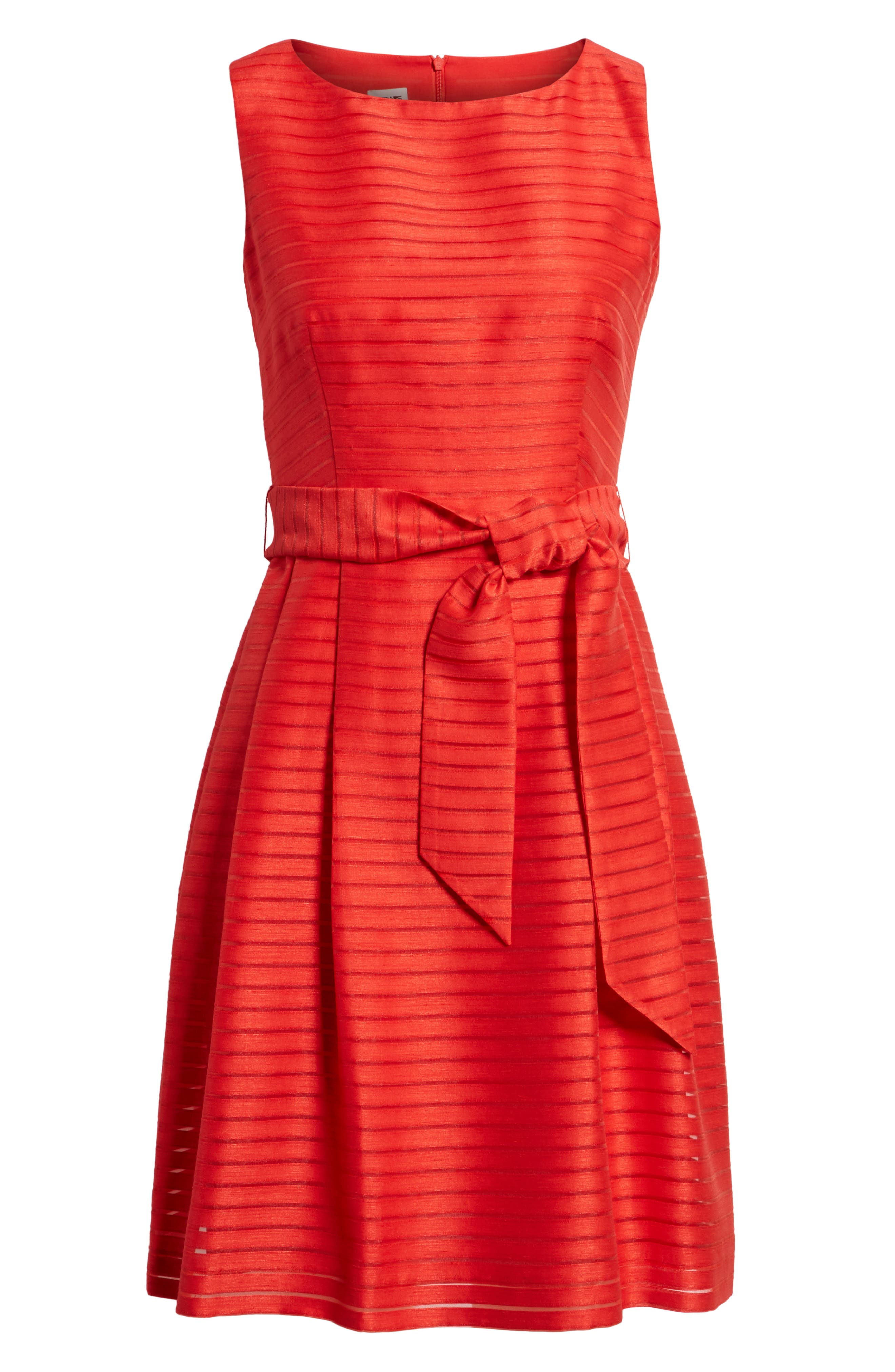 Shadow Stripe Fit & Flare Dress,                             Alternate thumbnail 7, color,                             Tomato