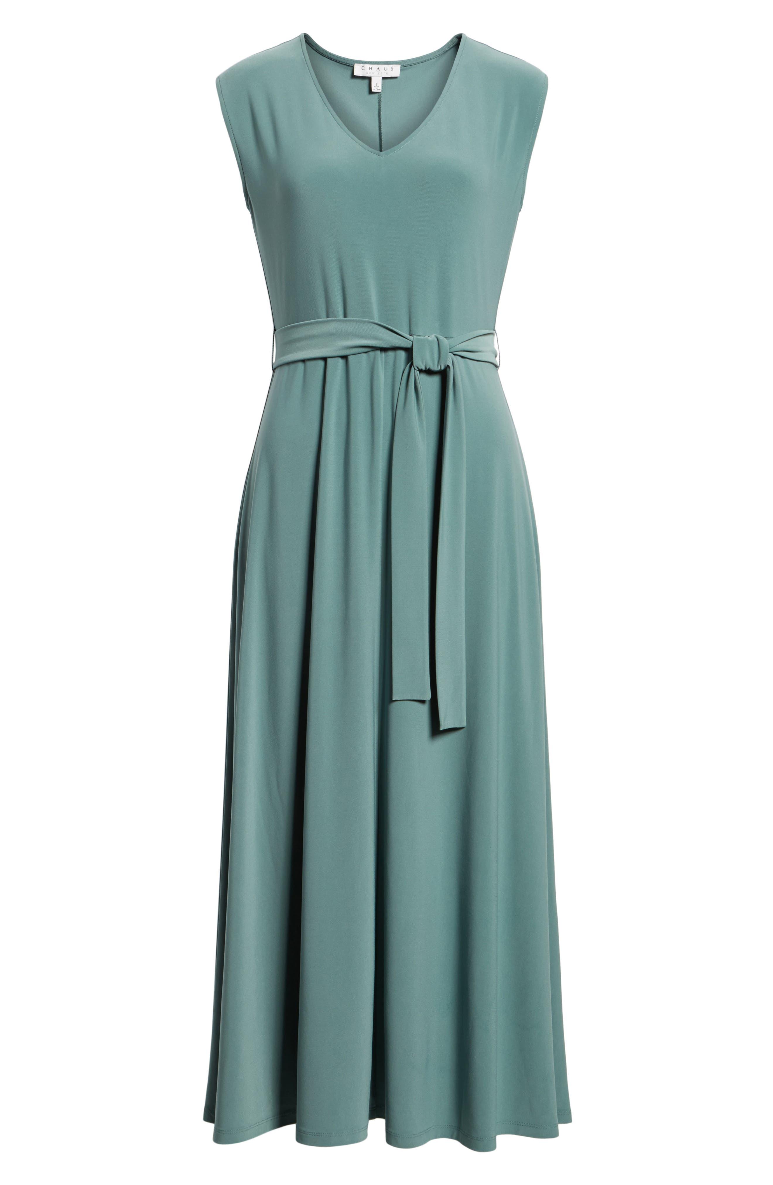 Tie Waist Maxi Dress,                             Alternate thumbnail 6, color,                             738-Tropic Moss