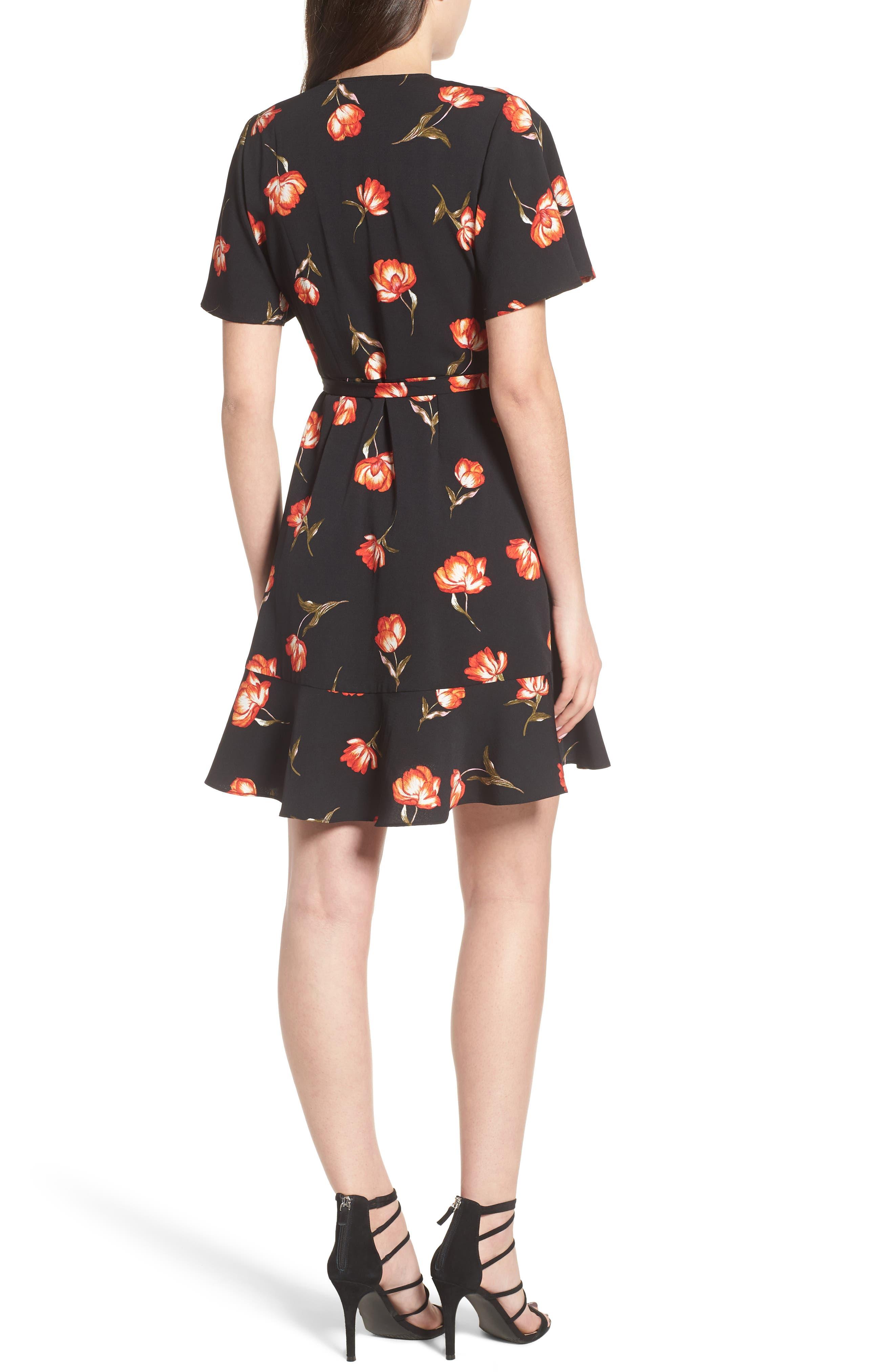 Lucy Floral Wrap Dress,                             Alternate thumbnail 2, color,                             Black Floral