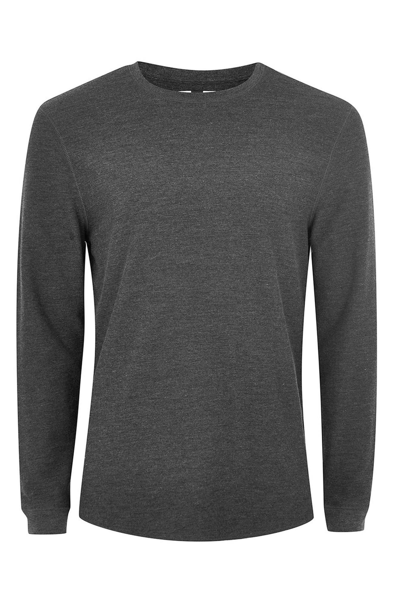 Slim Fit Waffle Knit Long Sleeve T-Shirt,                             Alternate thumbnail 4, color,                             Charcoal