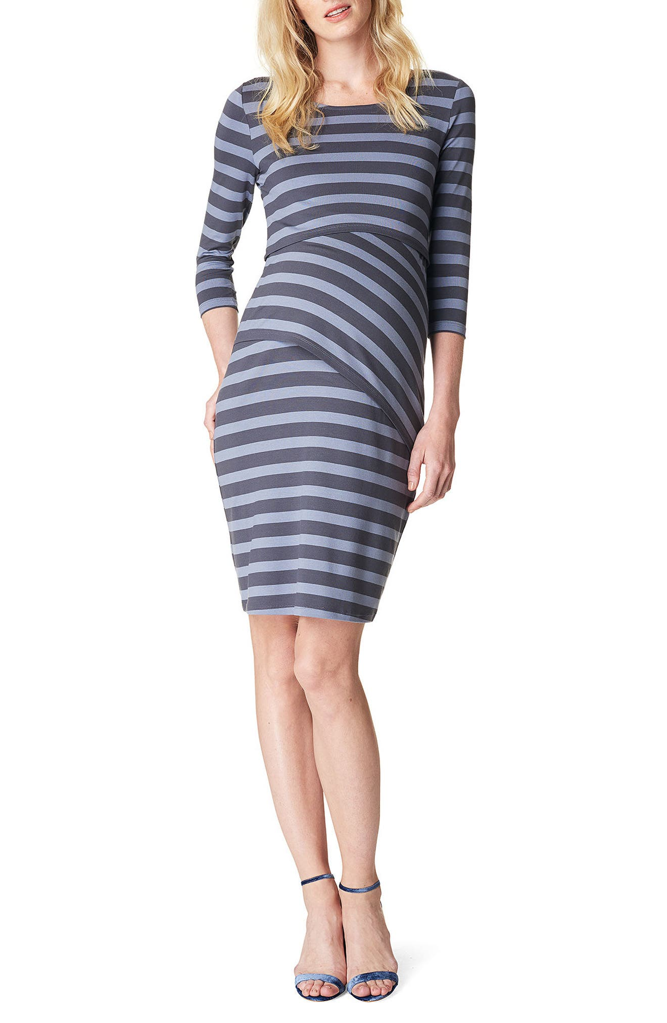 Aaike Maternity/Nursing Sheath Dress,                             Main thumbnail 1, color,                             Blue Strip