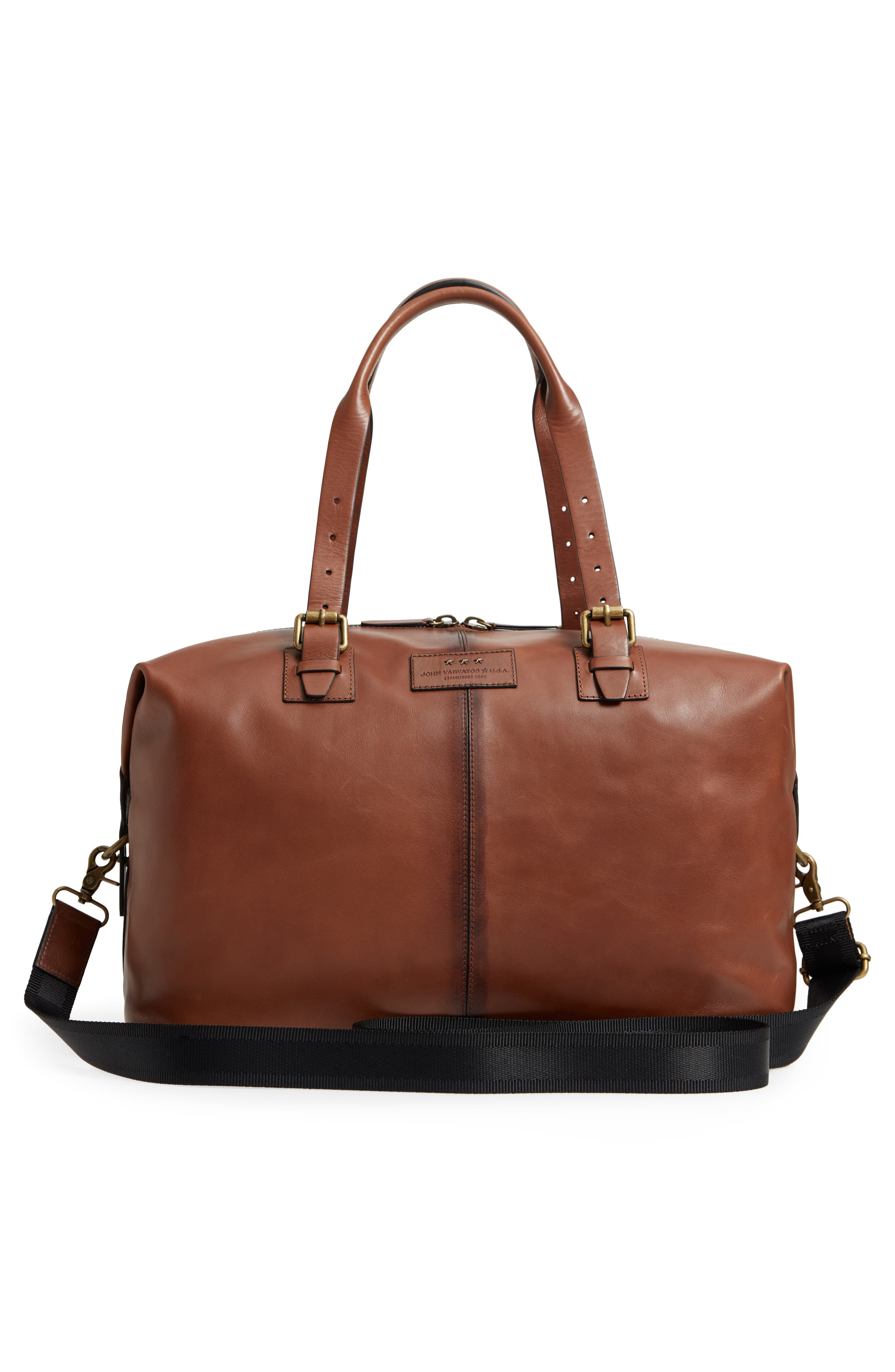 Heritage Leather Duffel Bag,                             Alternate thumbnail 3, color,                             Brownstone