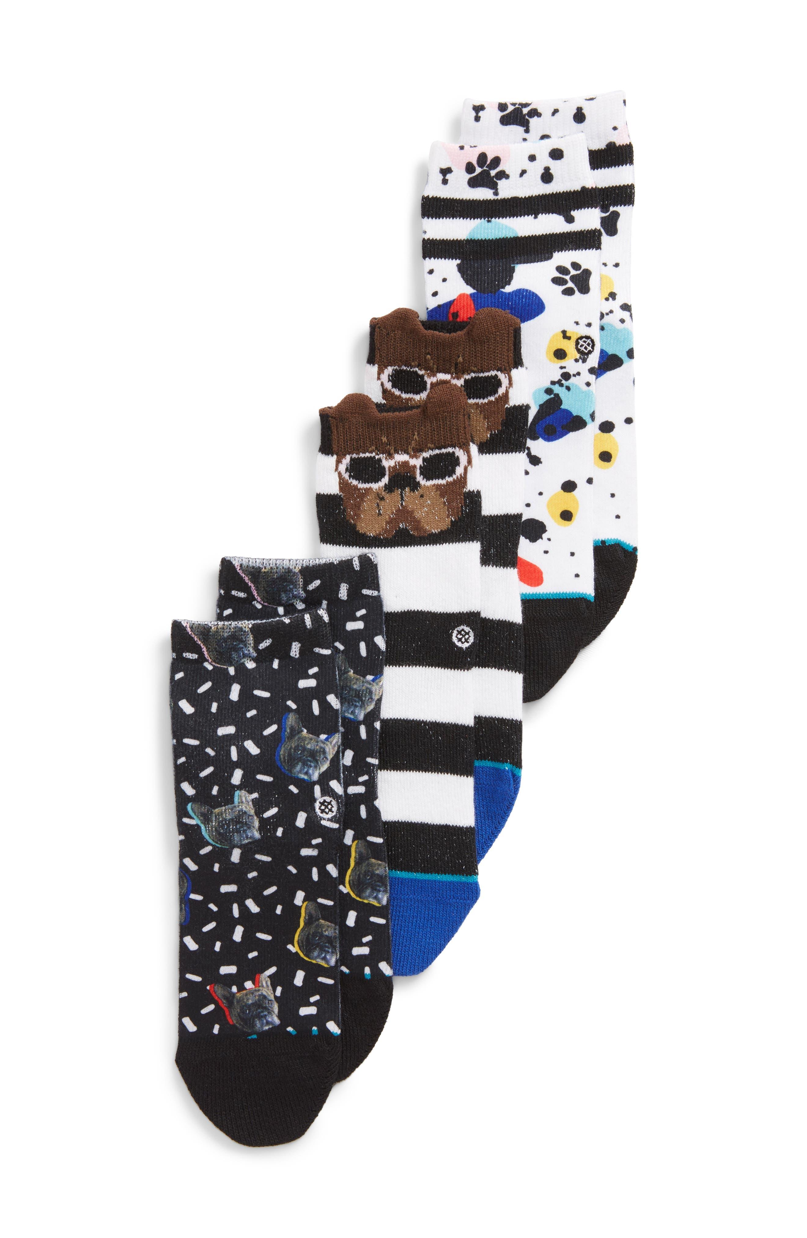 3-Pack Napkin Apocalypse Assorted Socks,                             Main thumbnail 1, color,                             Blue