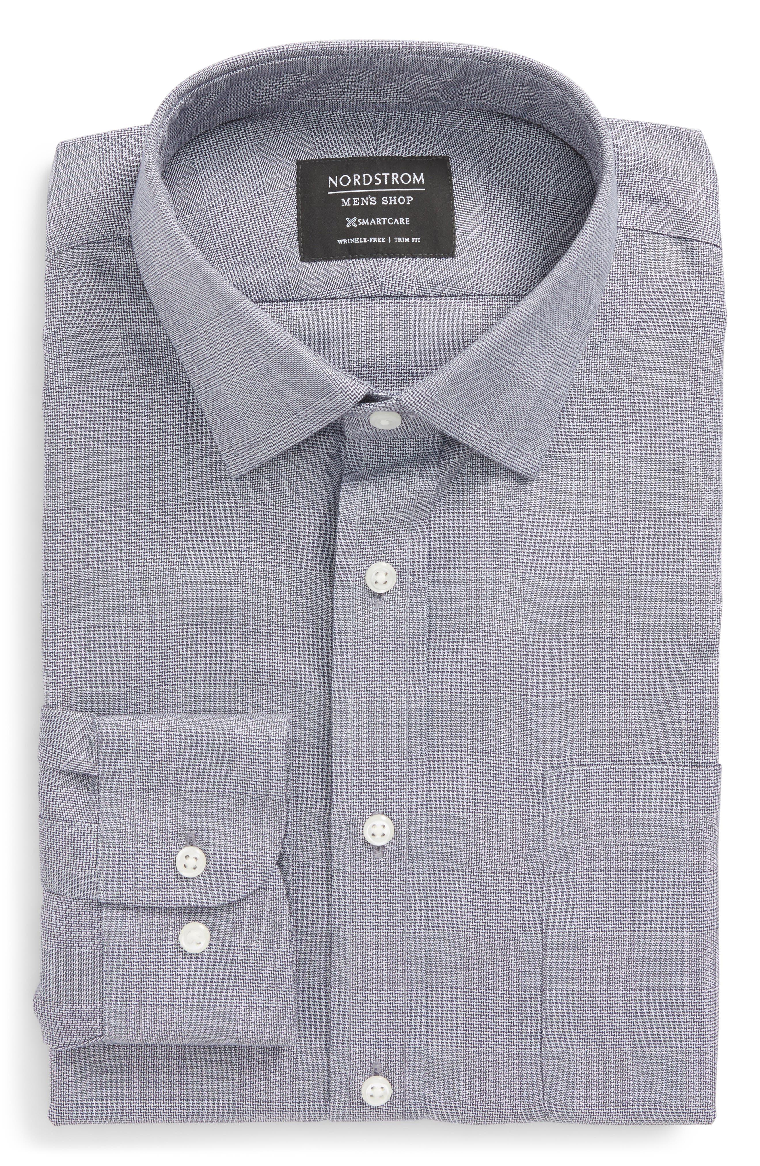 Smartcare<sup>™</sup> Trim Fit Plaid Dress Shirt,                             Alternate thumbnail 6, color,                             Grey Grisaille