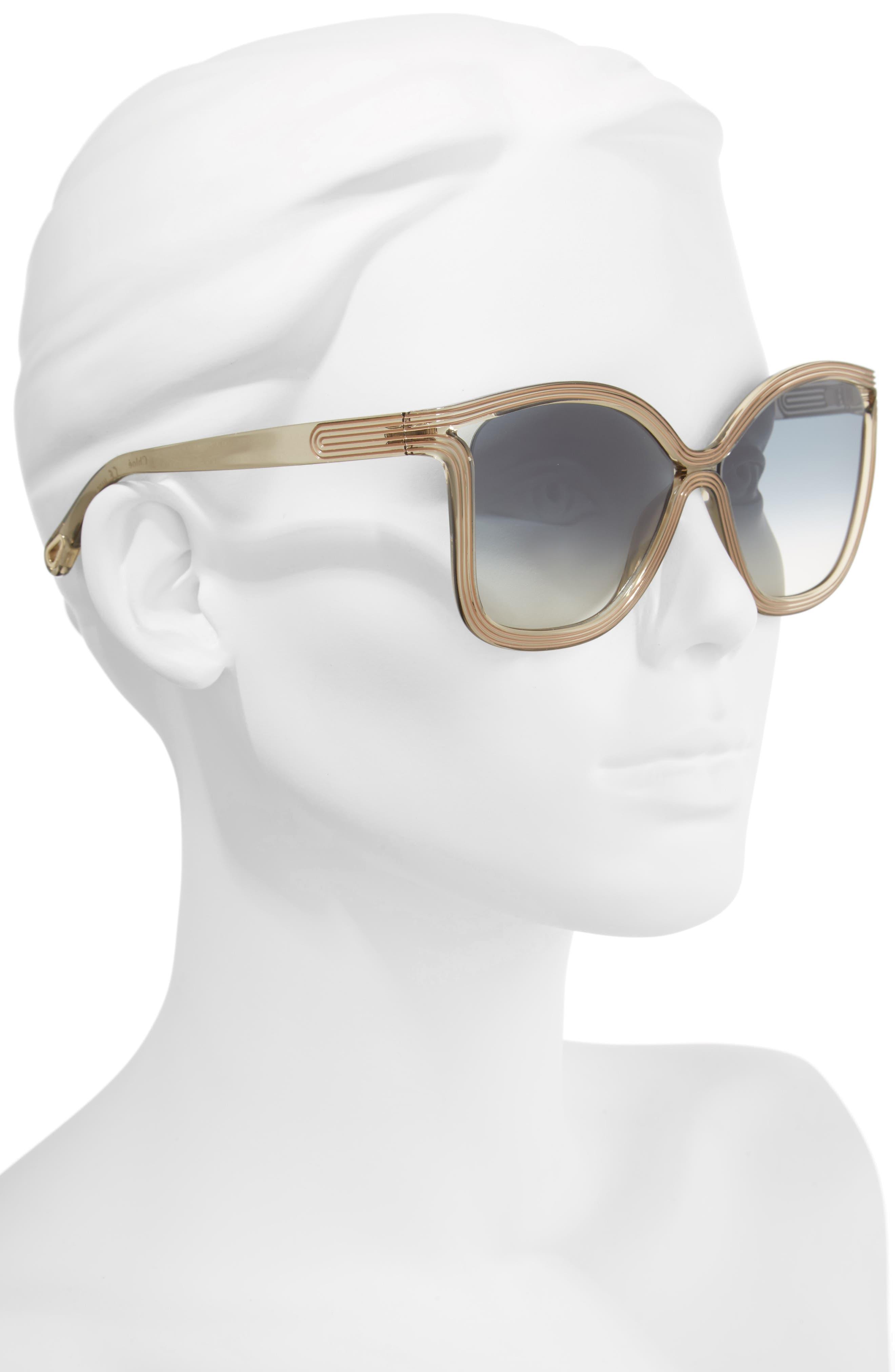 Grooves 58mm Rectangular Sunglasses,                             Alternate thumbnail 2, color,                             Greige