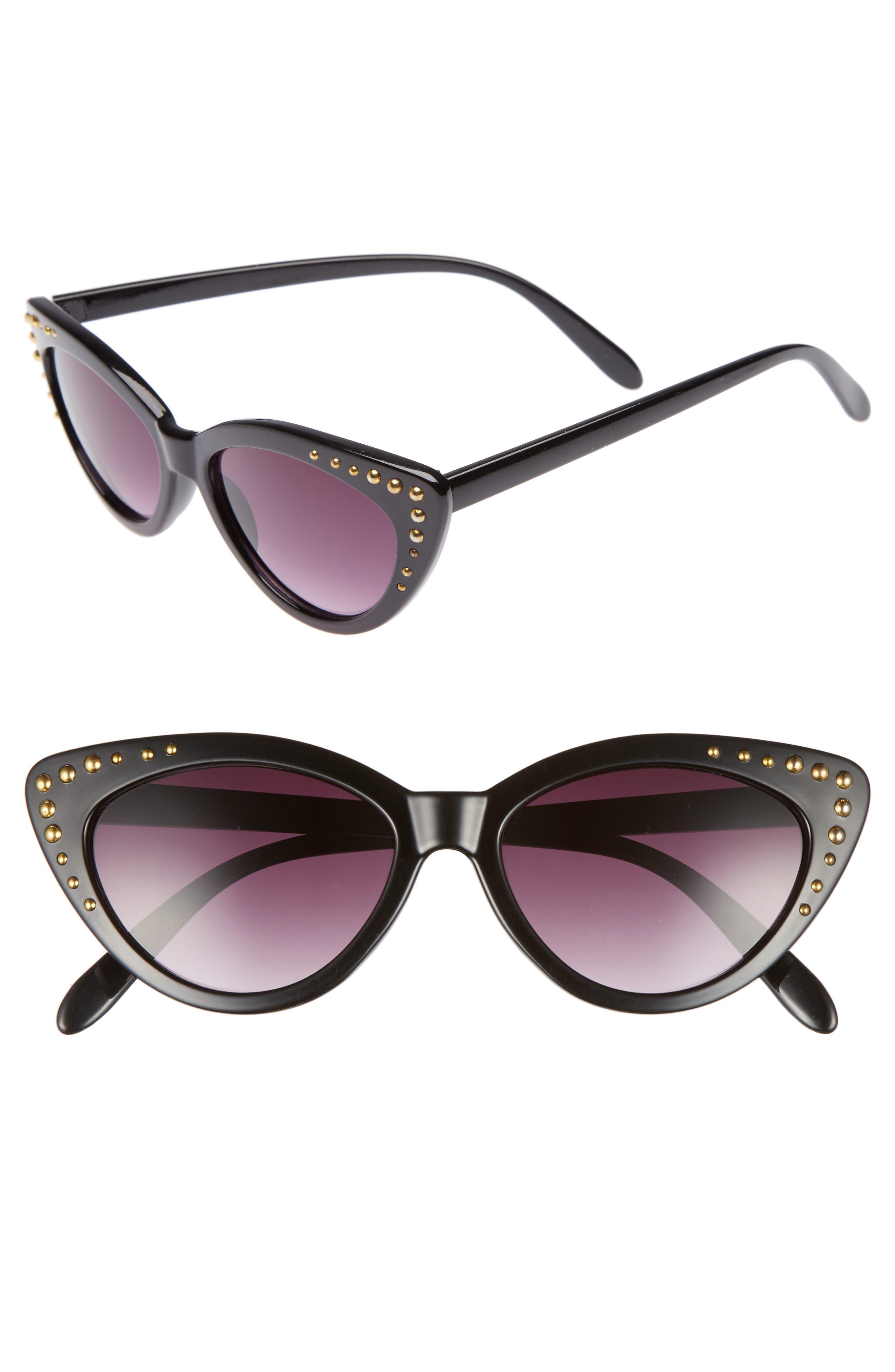 52mm Stud Detail Cat Eye Sunglasses,                             Main thumbnail 1, color,                             Black/ Gold