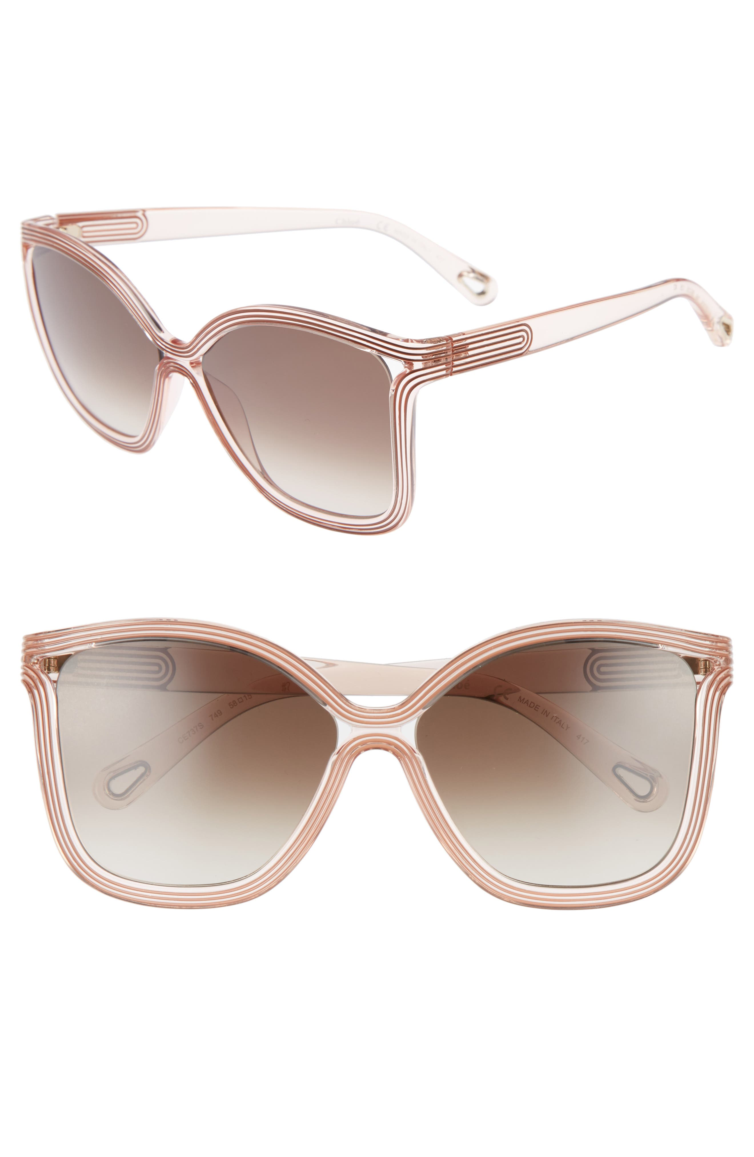 Chloé Grooves 58mm Rectangular Sunglasses
