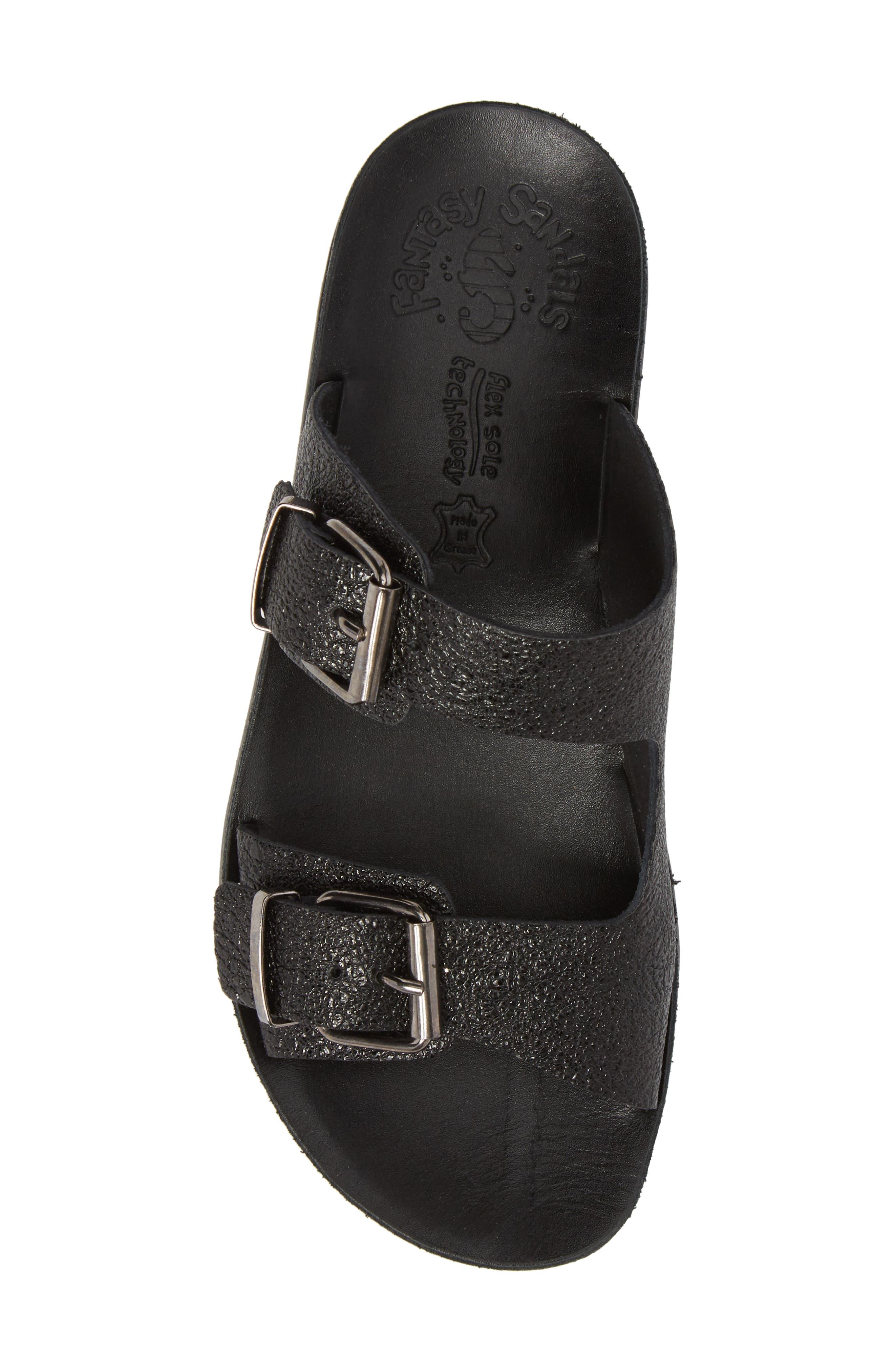 Melanie Platform Sandal,                             Alternate thumbnail 5, color,                             Black Spacey Leather
