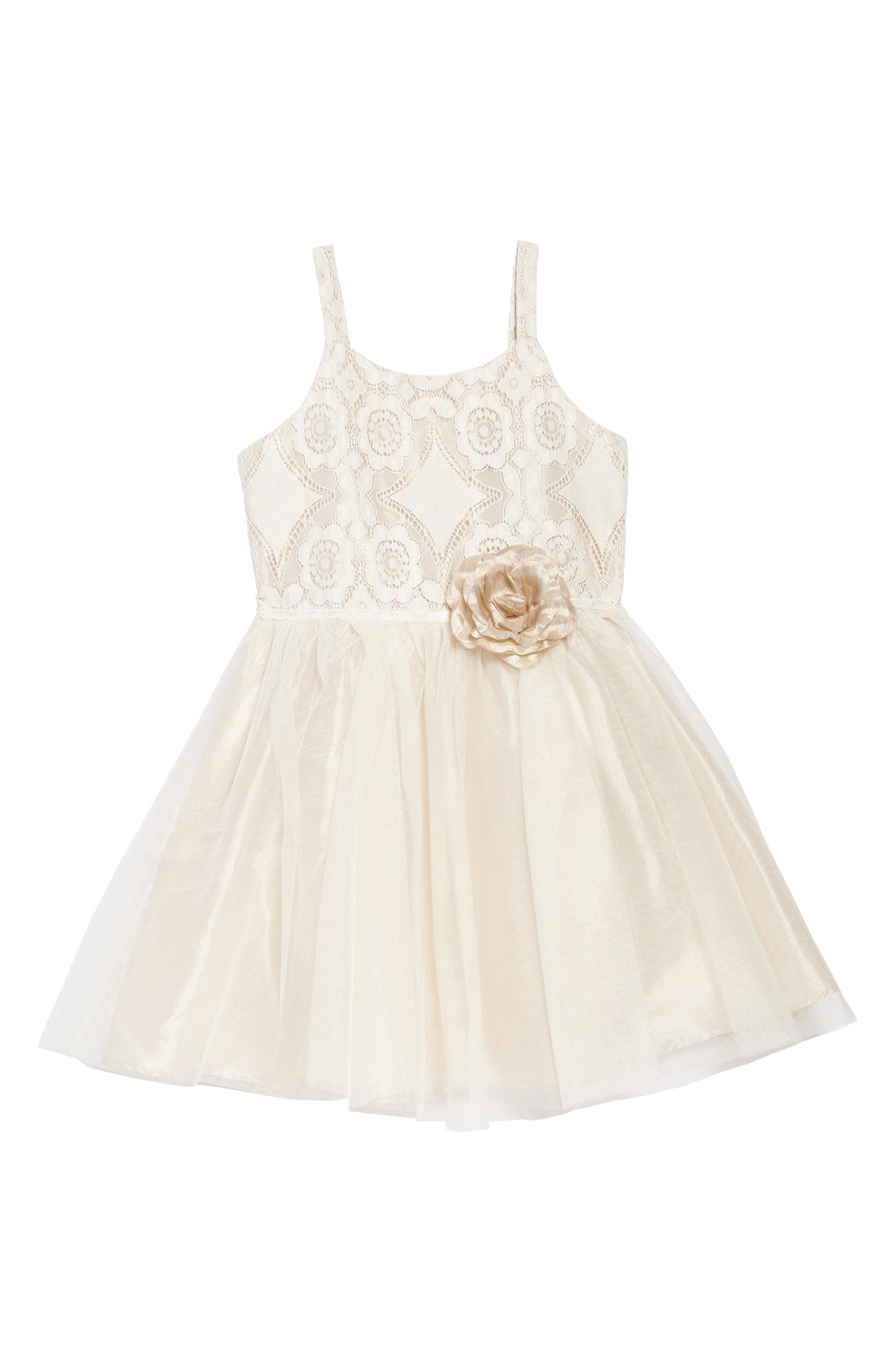 Lace & Tulle Party Dress,                             Main thumbnail 1, color,                             Ivory/ Tan