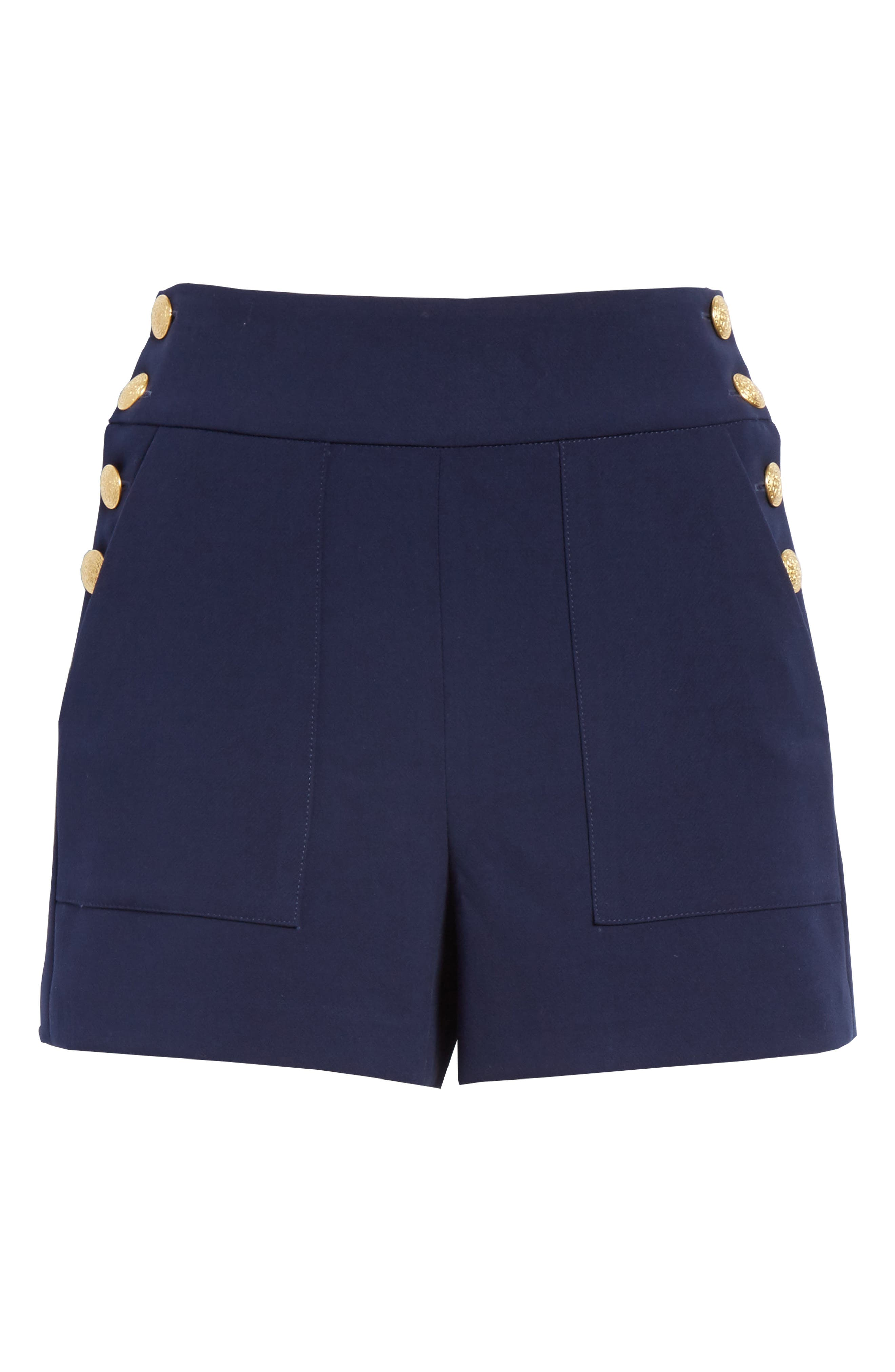 Donald High Waist Sailor Shorts,                             Alternate thumbnail 6, color,                             Sapphire