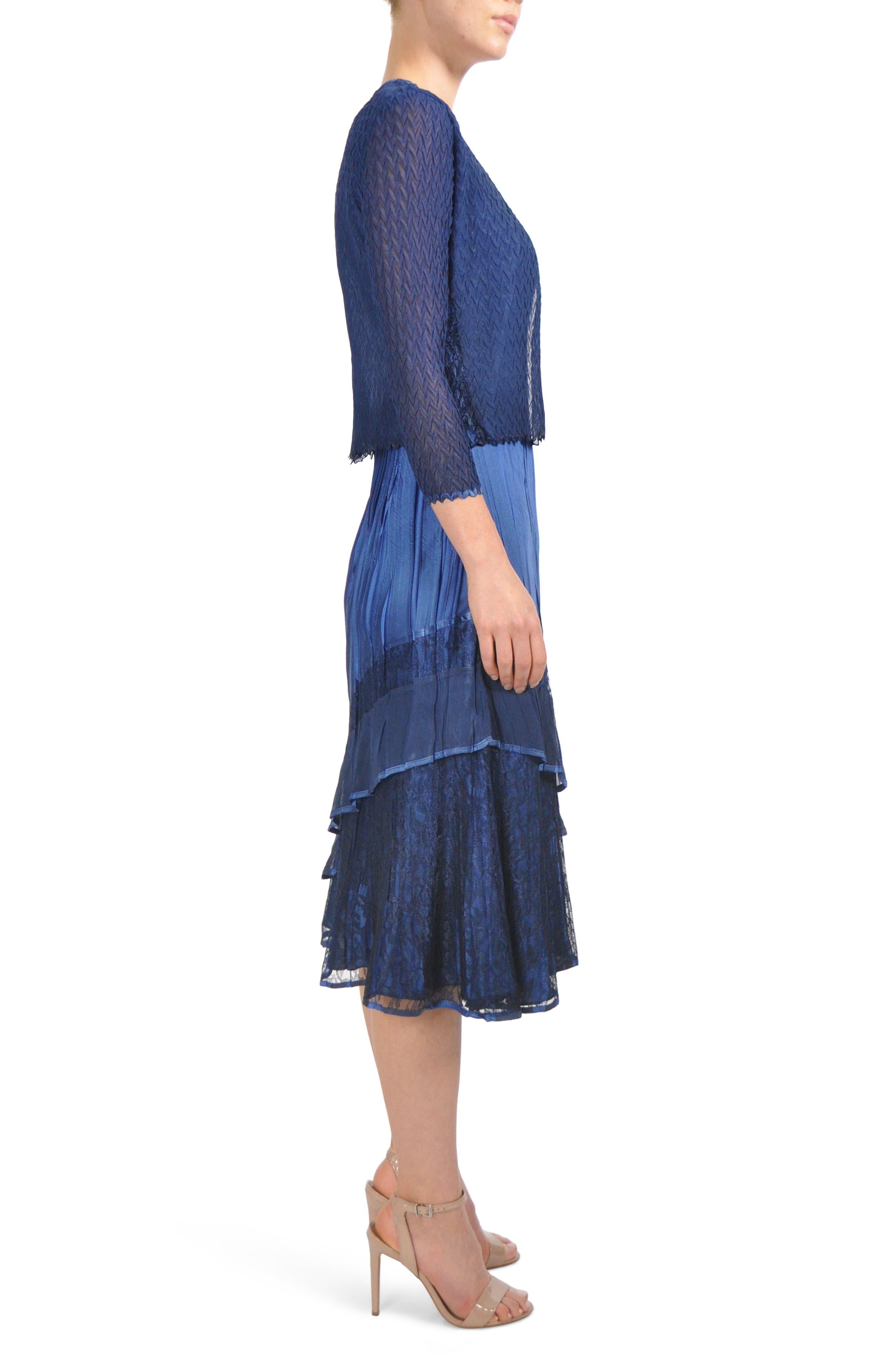 Komorov Midi Dress with Jacket,                             Alternate thumbnail 4, color,                             Navy Black Ombre