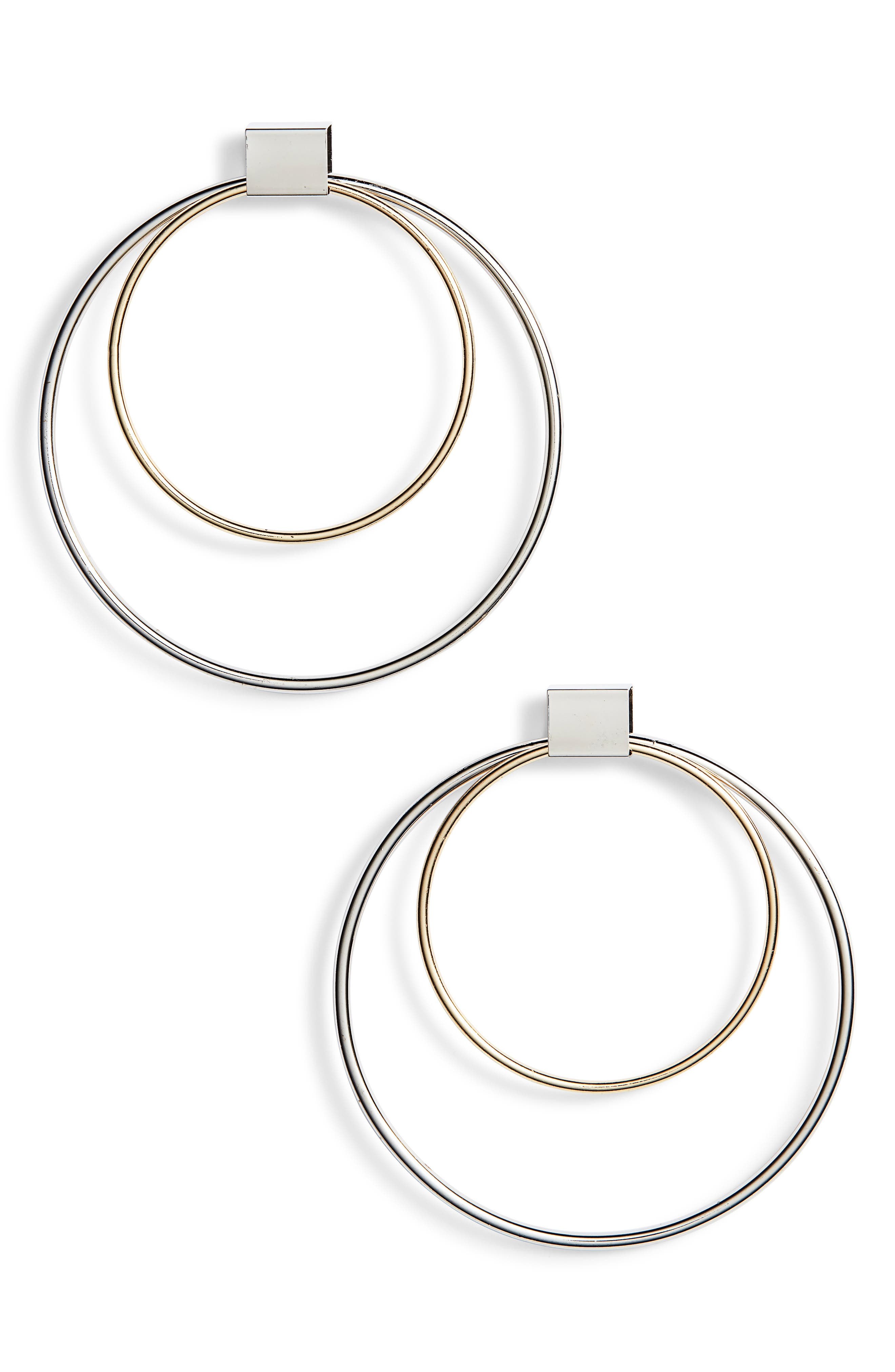 Double Hoop Earrings,                         Main,                         color, Gold/ Silver