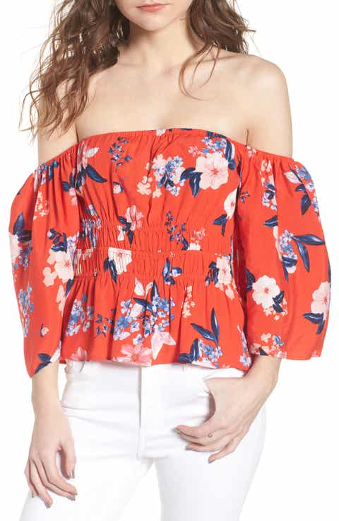 cupcakes and cashmere Barr Off the Shoulder Blouse