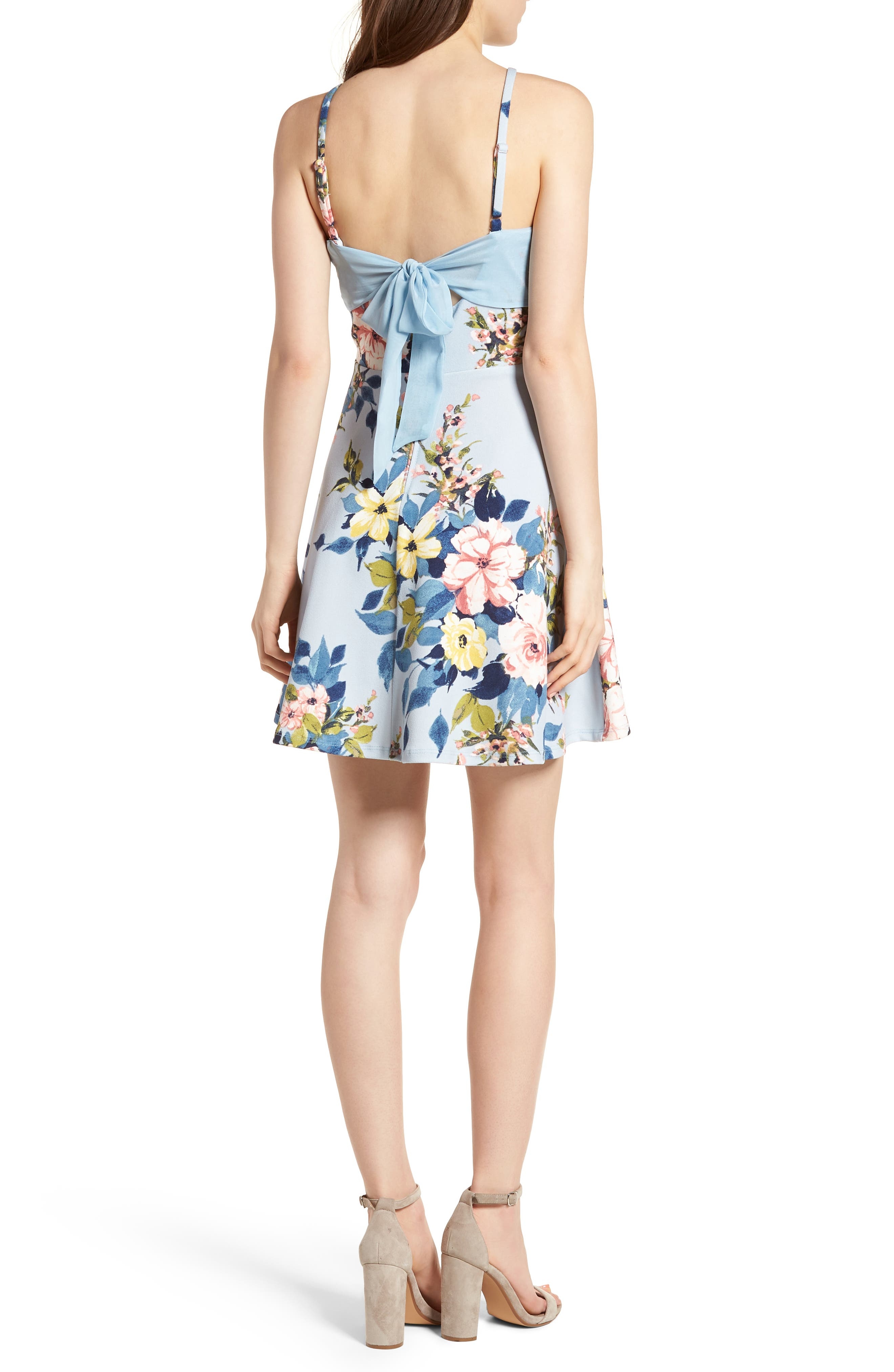 Floral Skater Dress,                             Alternate thumbnail 2, color,                             Blue/ Rose