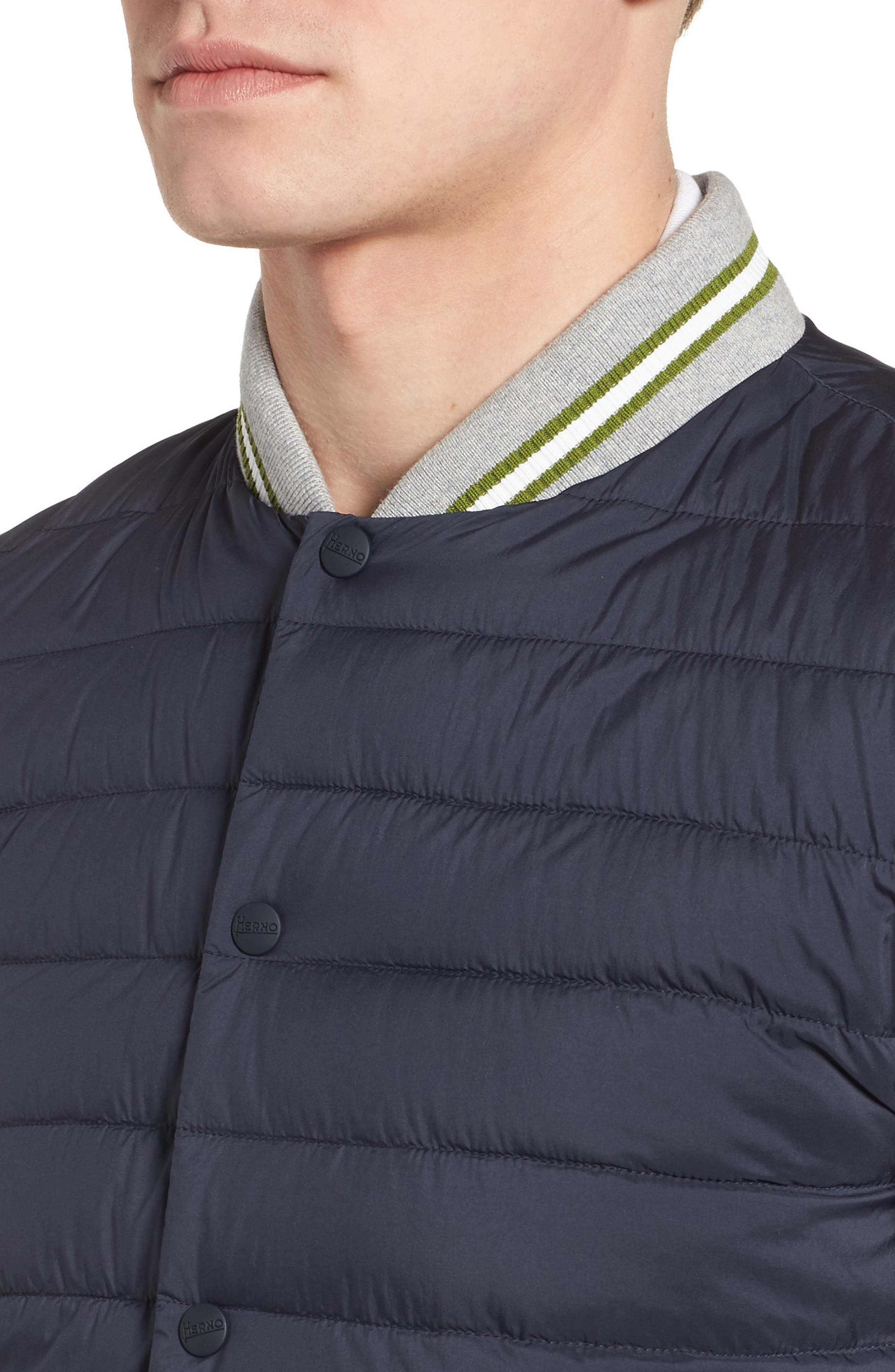 Quilted Baseball Jacket,                             Alternate thumbnail 4, color,                             Navy