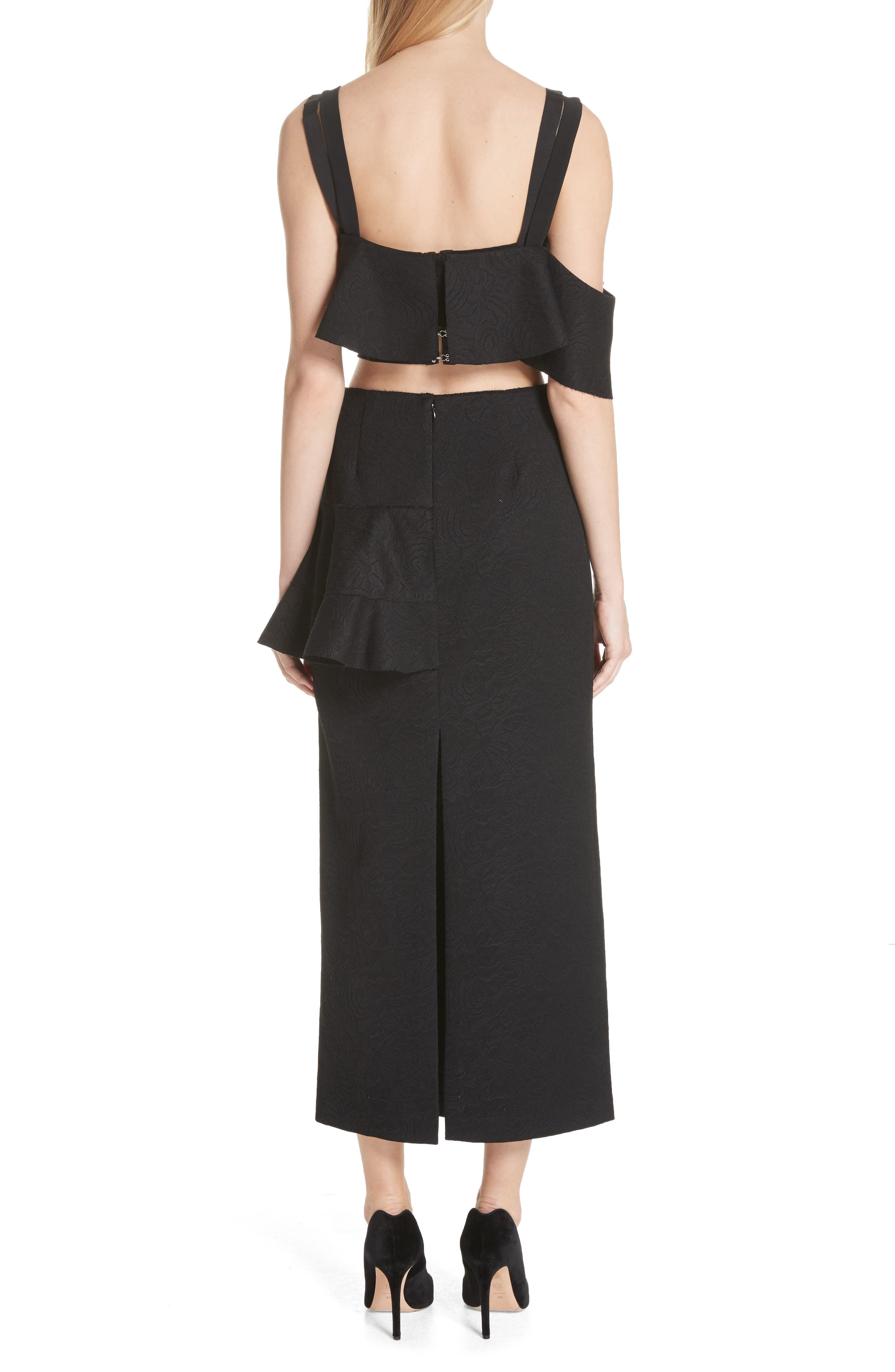 Ruffle Midi Dress,                             Alternate thumbnail 2, color,                             Black