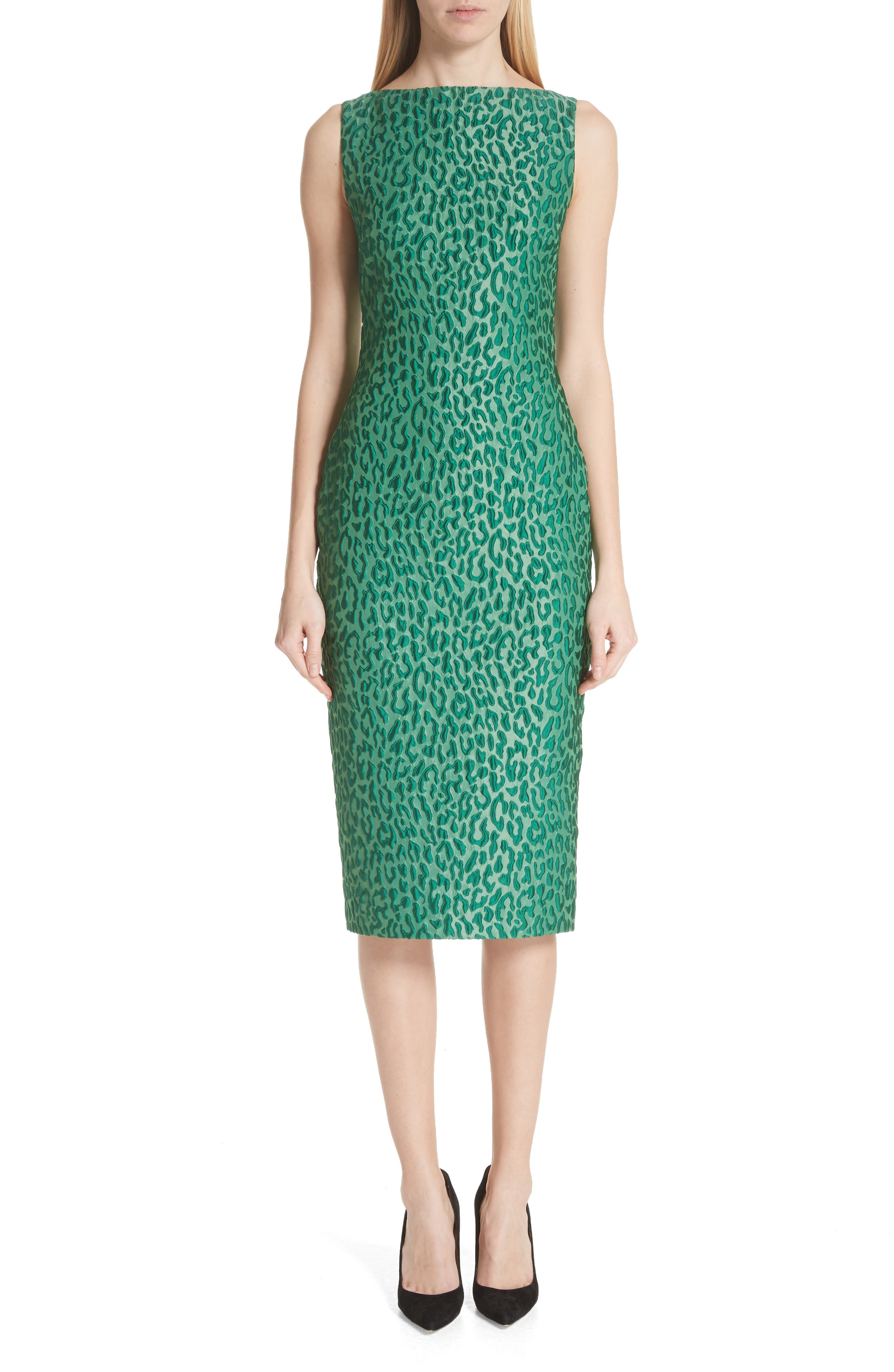 Leopard Jacquard Sheath Dress,                             Main thumbnail 1, color,                             Green
