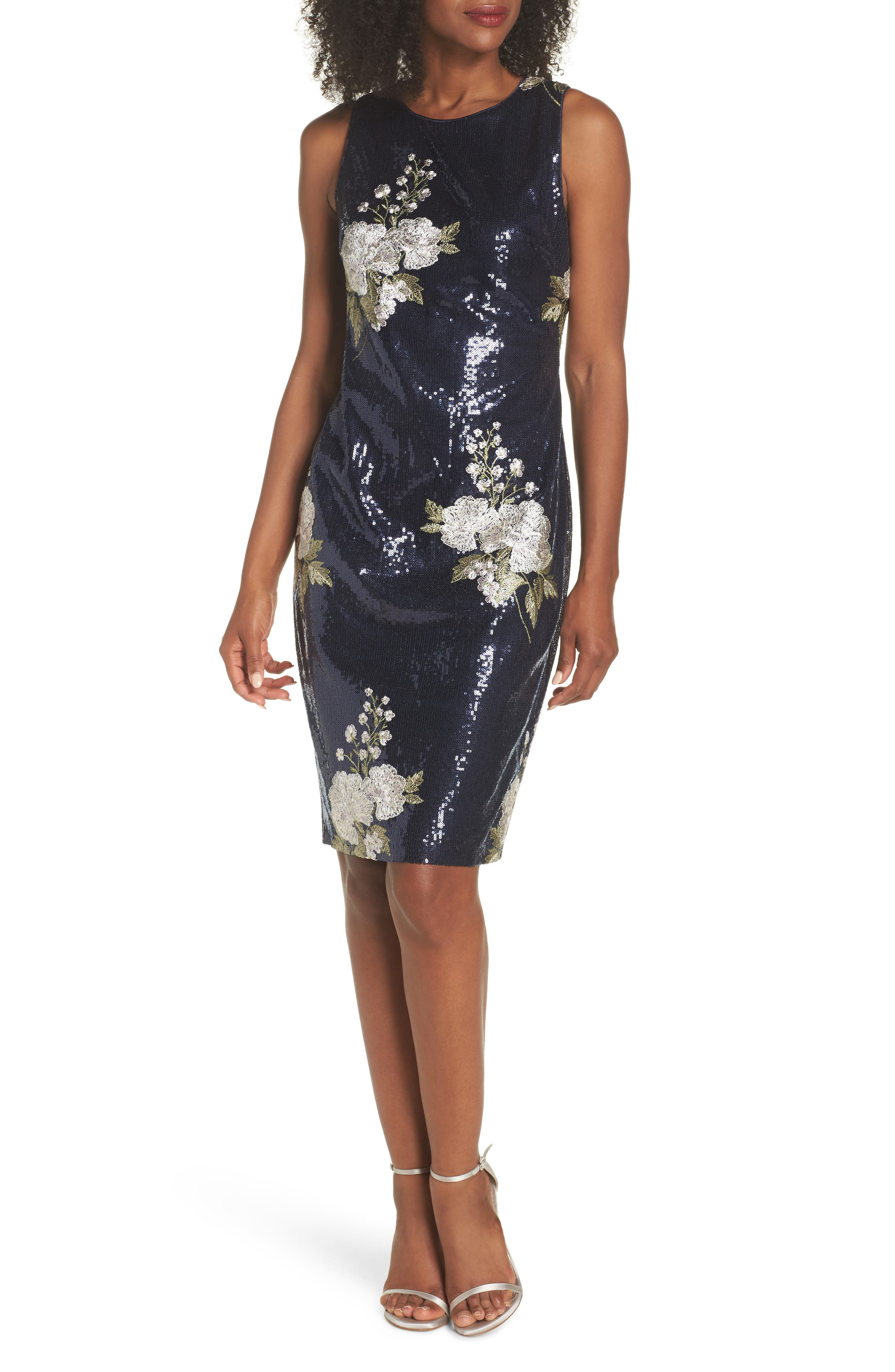 Sequin & Embroidery Sheath Dress,                             Main thumbnail 1, color,                             Navy