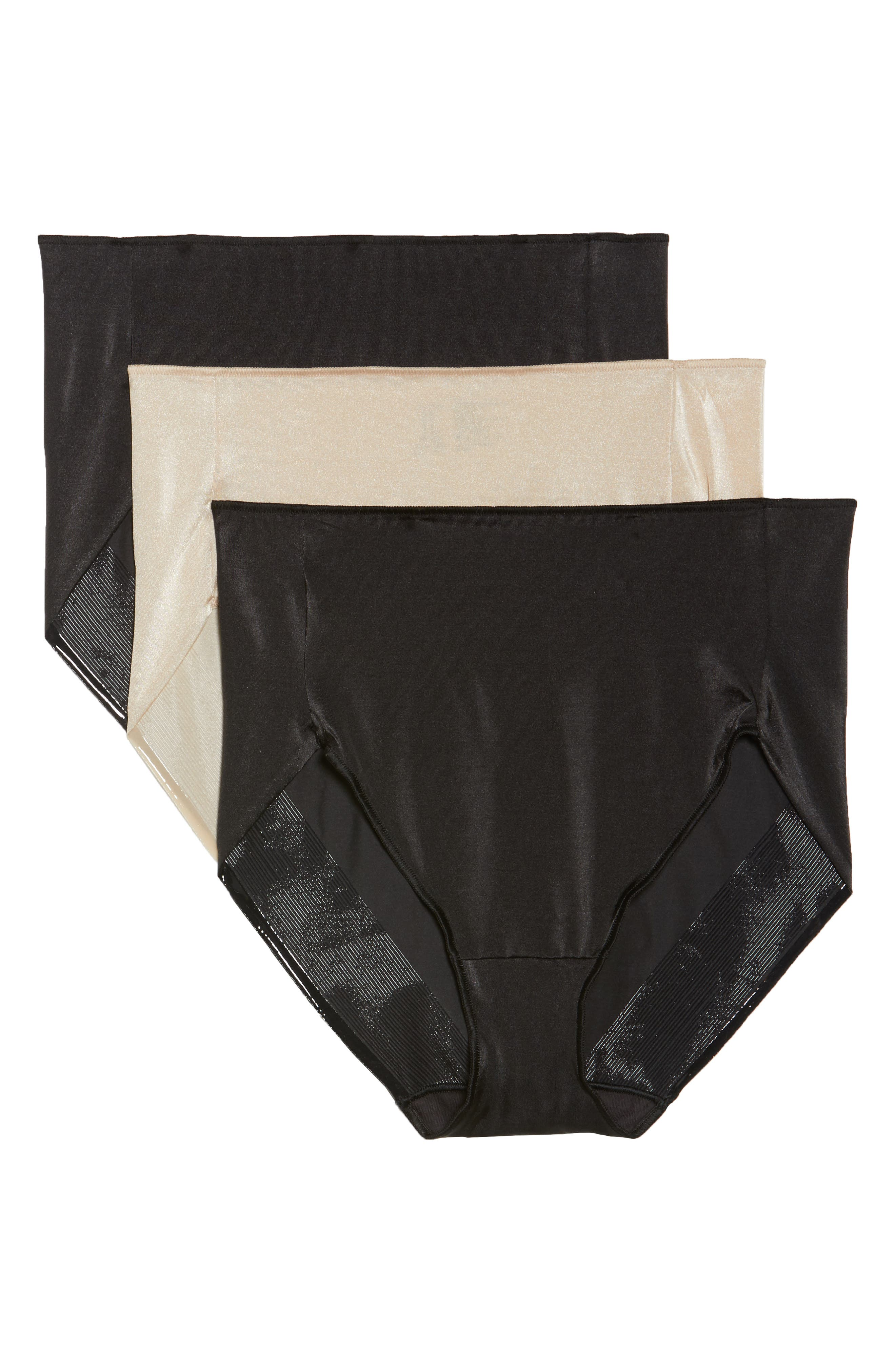3-Pack High Waist Briefs,                         Main,                         color, Black/ Nude