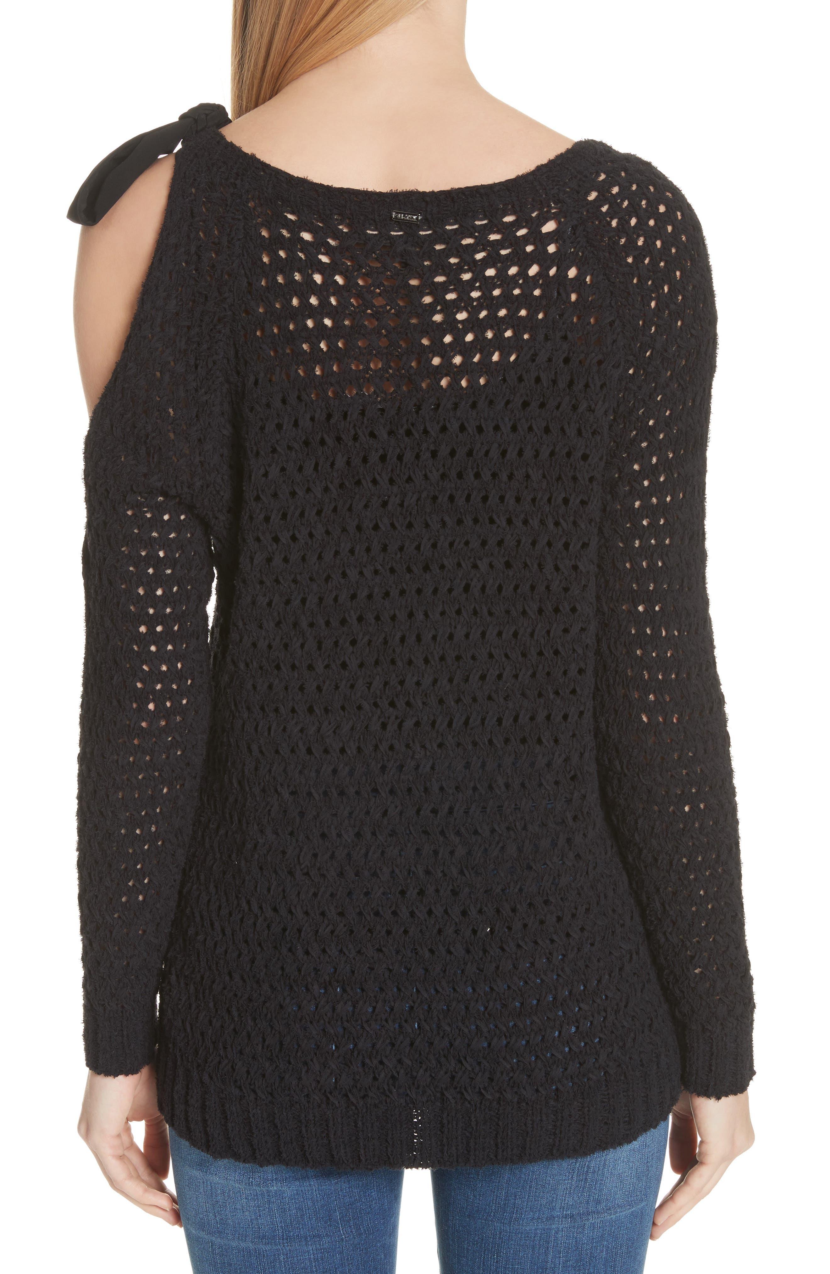 Crisscross Open Stitch Cold Shoulder Sweater,                             Alternate thumbnail 2, color,                             Caviar