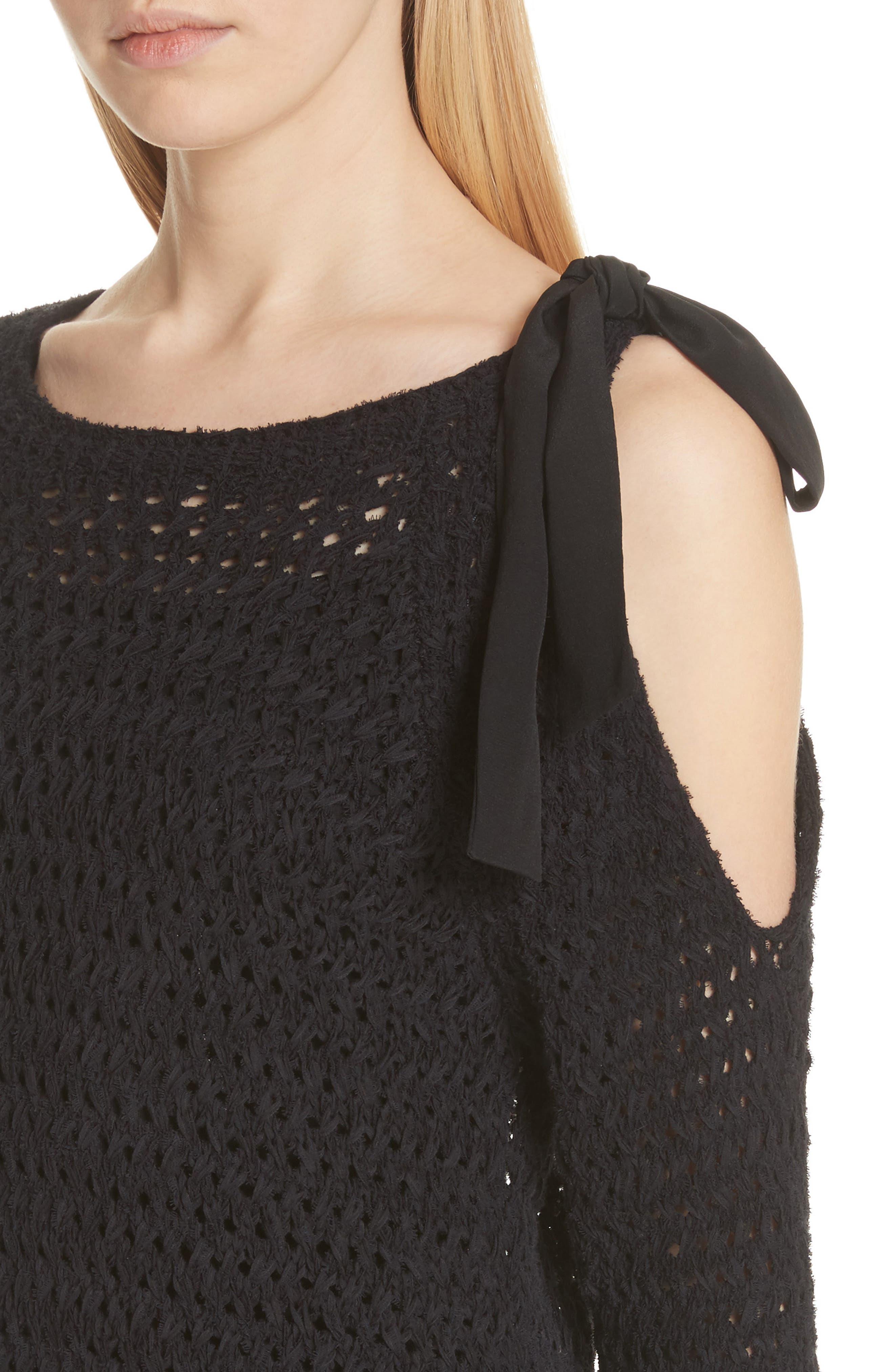 Crisscross Open Stitch Cold Shoulder Sweater,                             Alternate thumbnail 4, color,                             Caviar