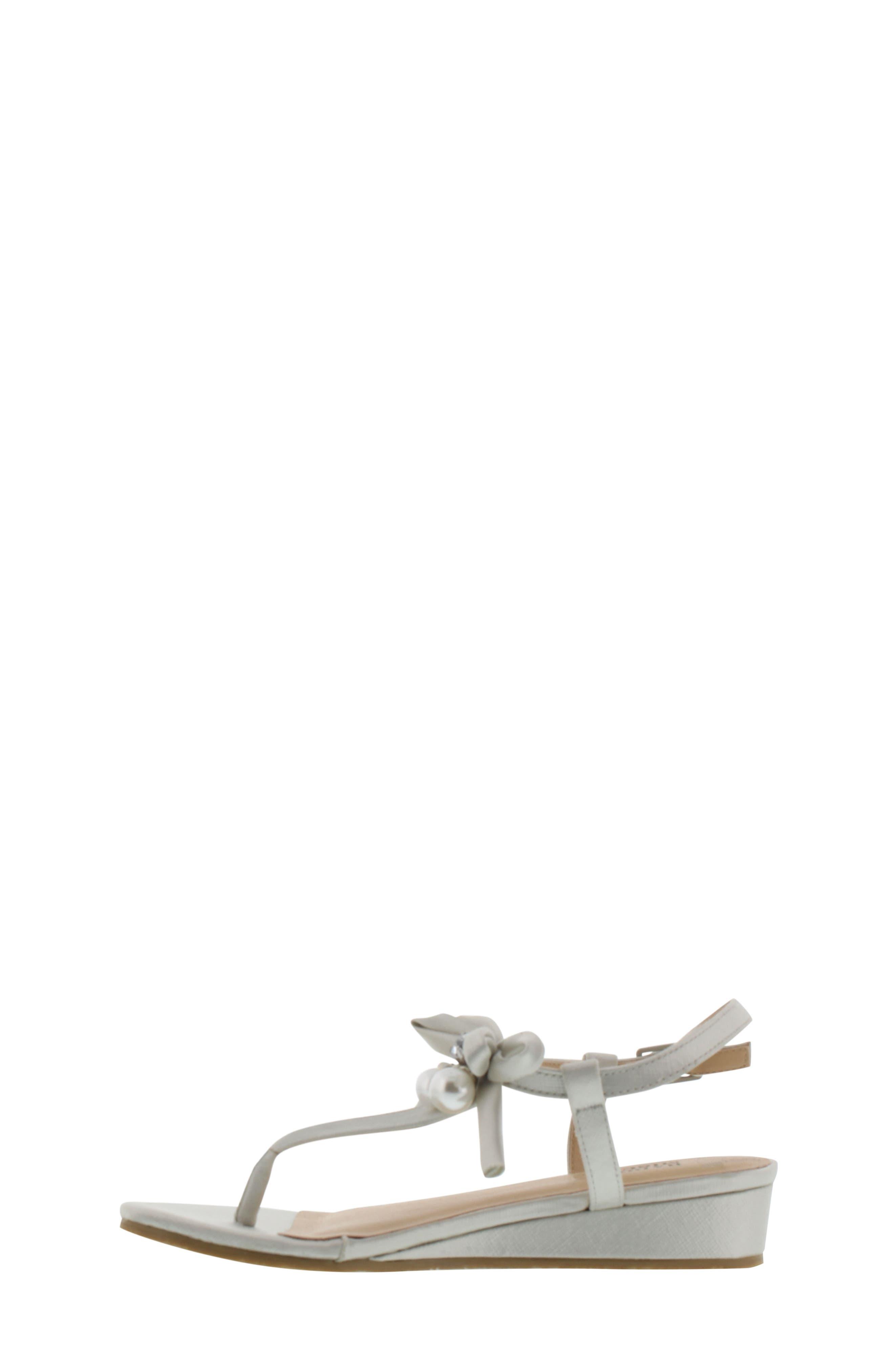 Talia Embellished Bow Sandal,                             Alternate thumbnail 3, color,                             Silver