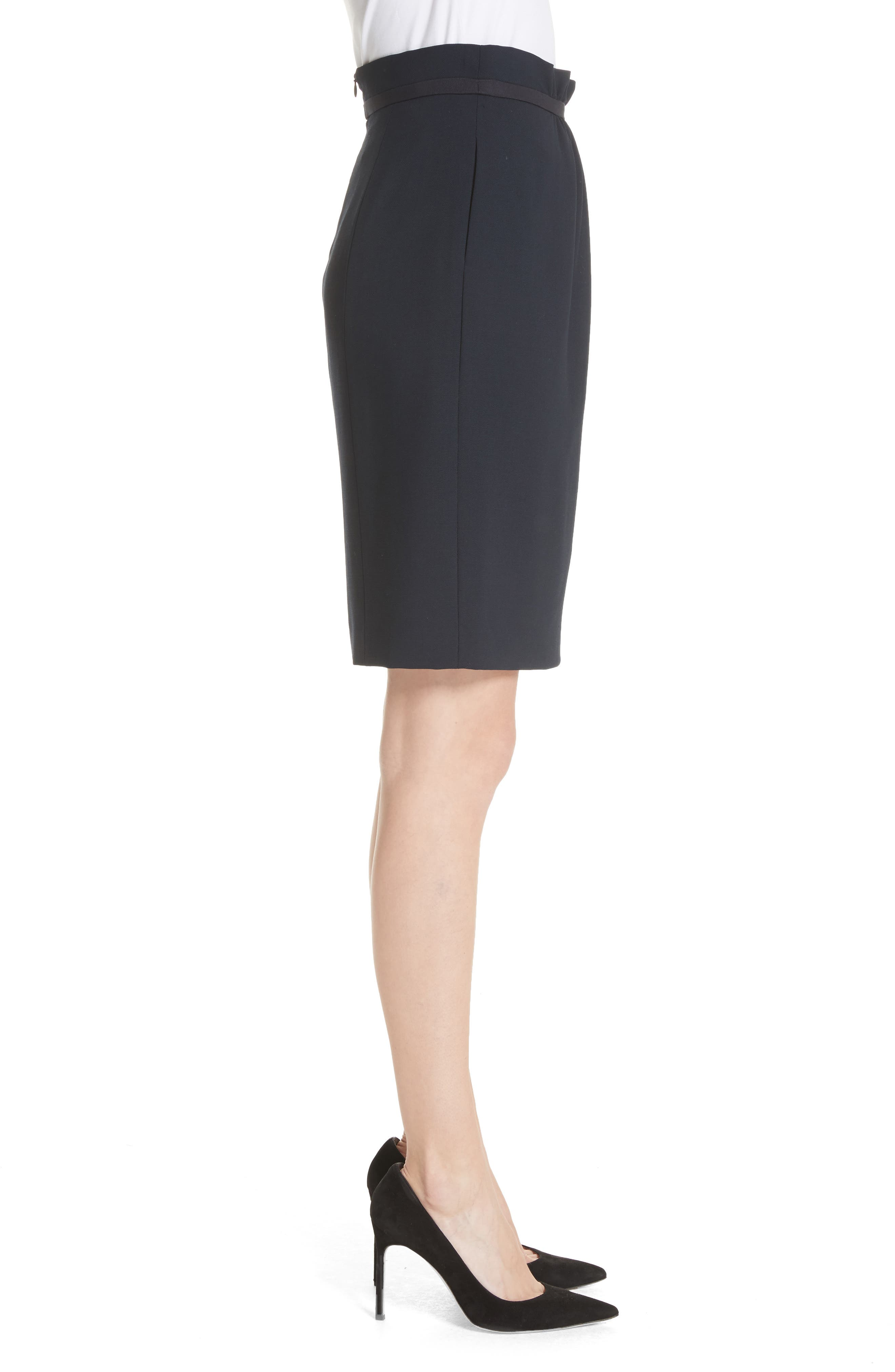 Stretch Wool Crepe Skirt,                             Alternate thumbnail 3, color,                             Navy
