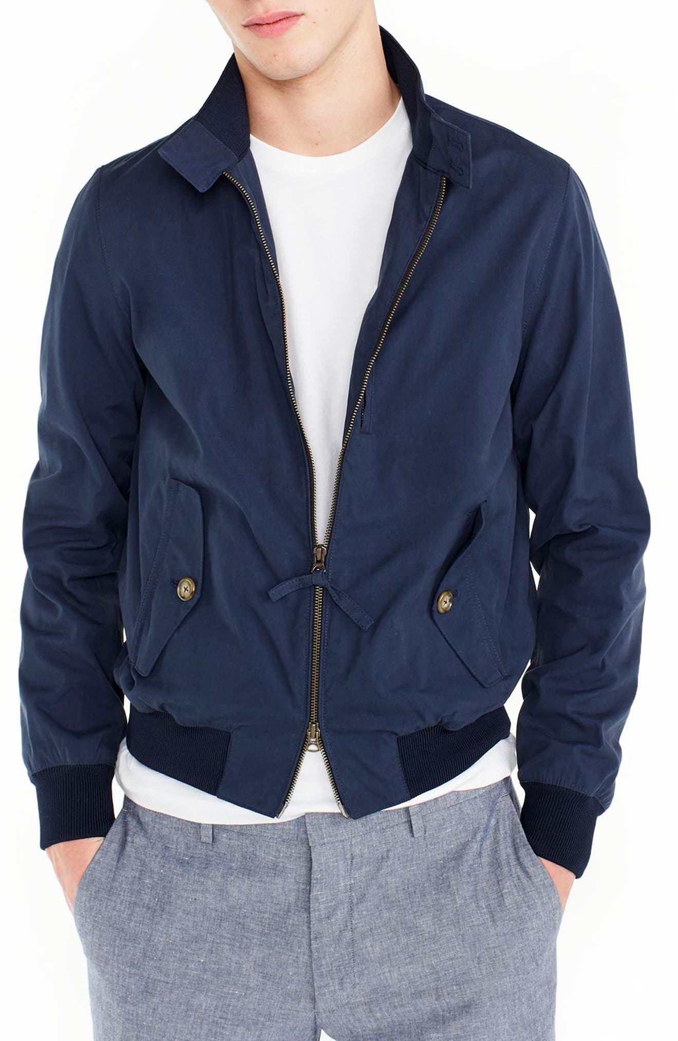 Slim Fit Harrington Jacket,                         Main,                         color, Warm Indigo