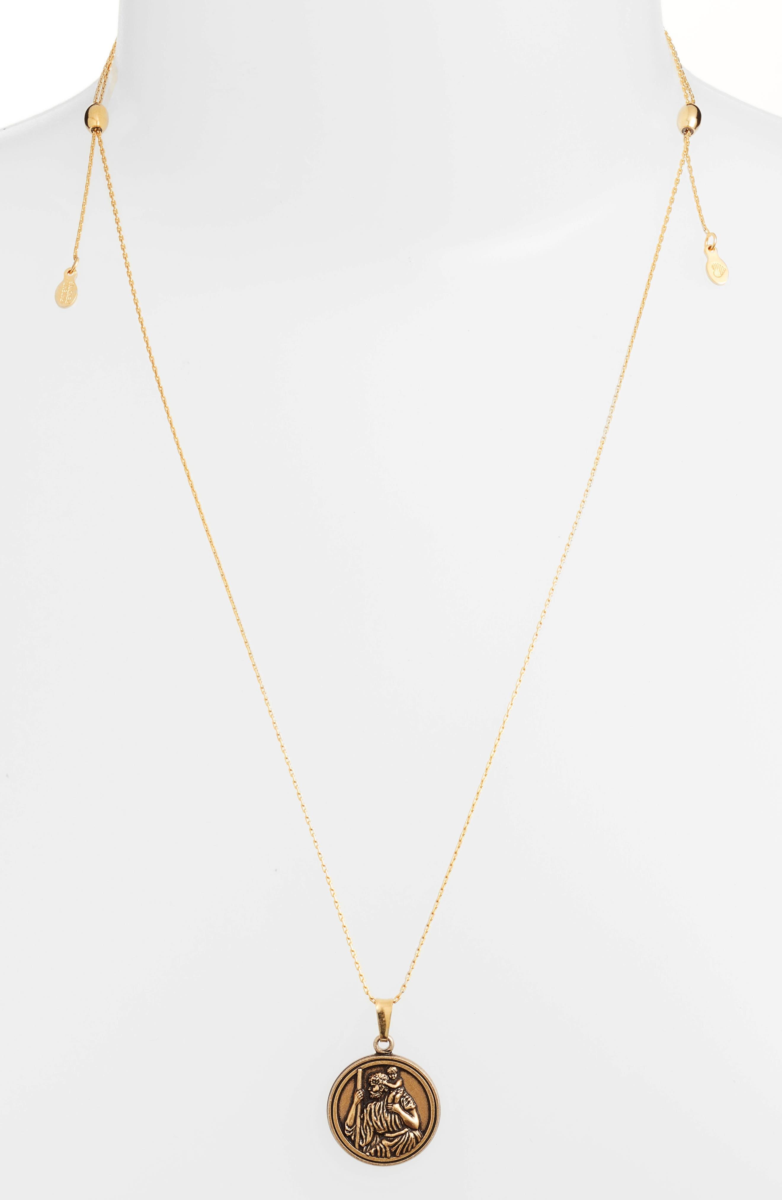 Saint Christopher Pendant Necklace,                             Alternate thumbnail 3, color,                             Gold