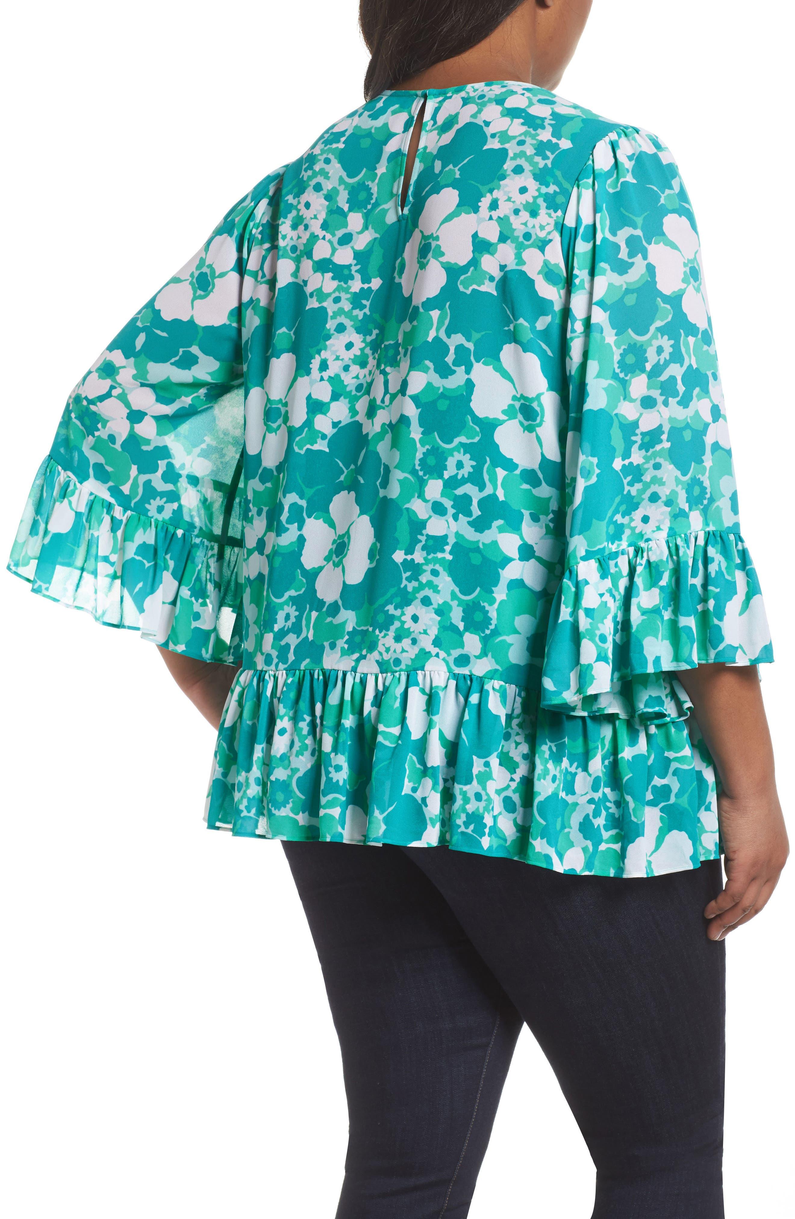 Alternate Image 2  - MICHAEL Michael Kors Springtime Floral Ruffle Top (Plus Size)