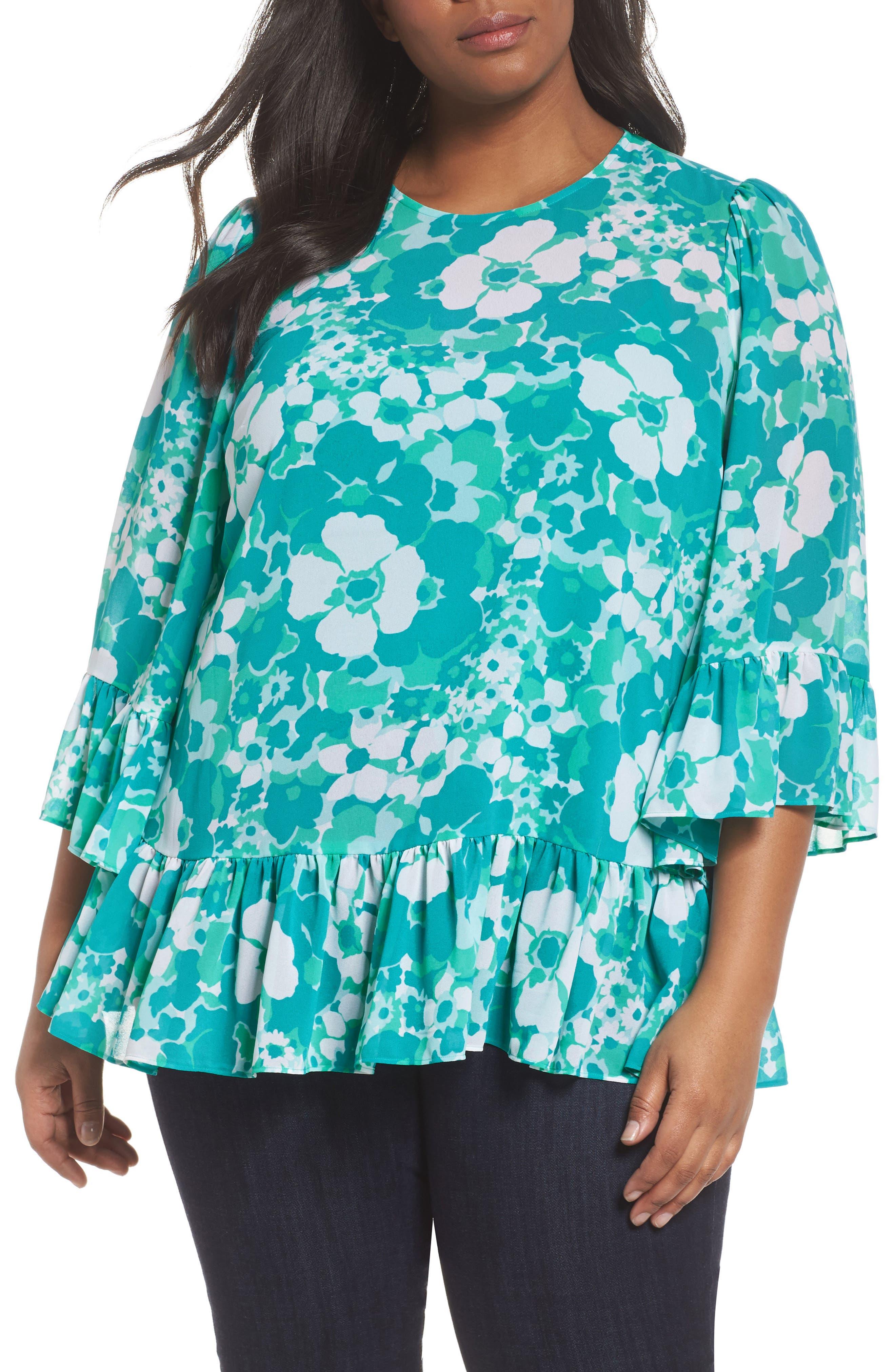 Alternate Image 1 Selected - MICHAEL Michael Kors Springtime Floral Ruffle Top (Plus Size)
