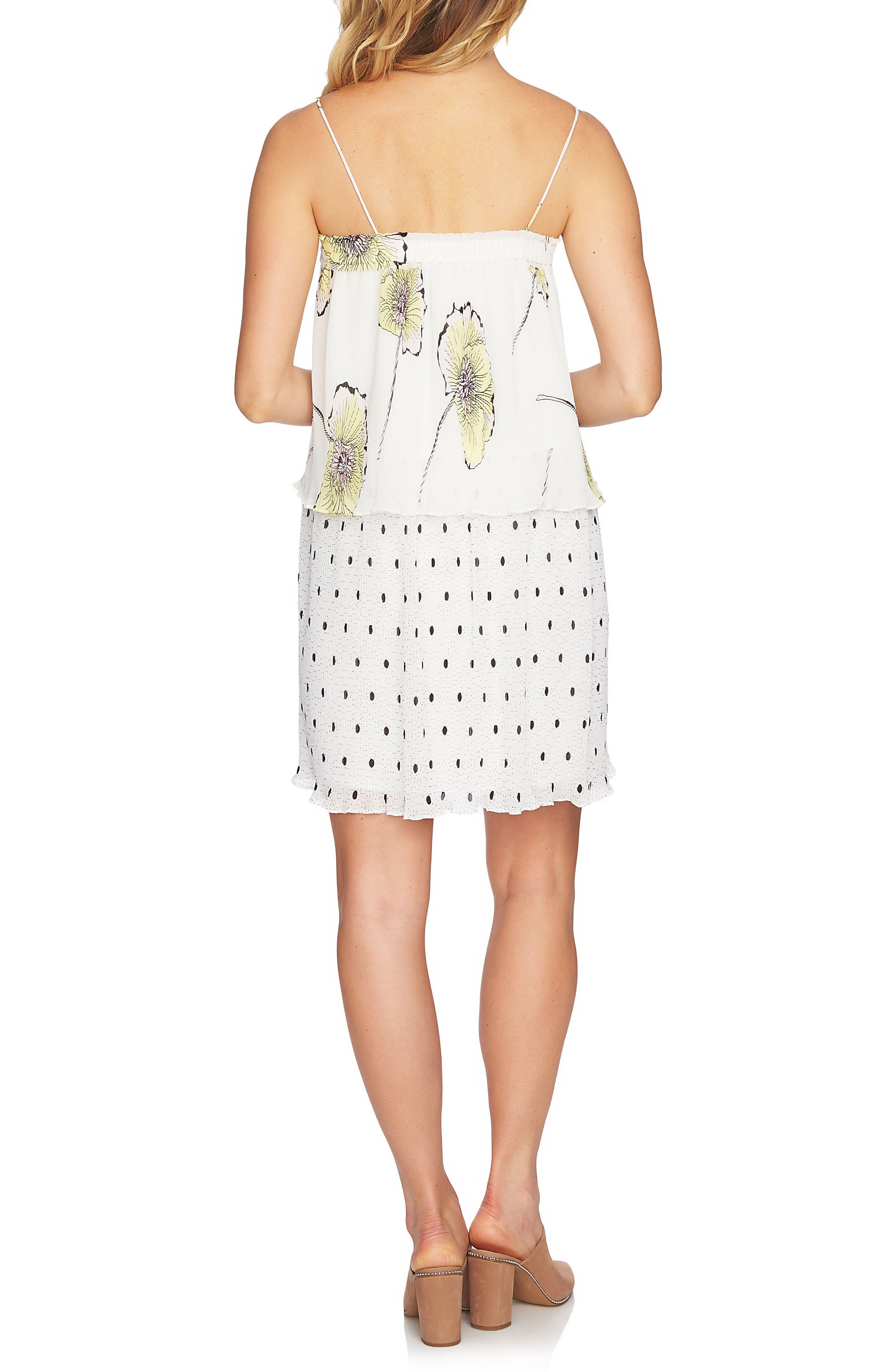 Mixed Print Pleated Shift Dress,                             Alternate thumbnail 2, color,                             108-Antiq. White