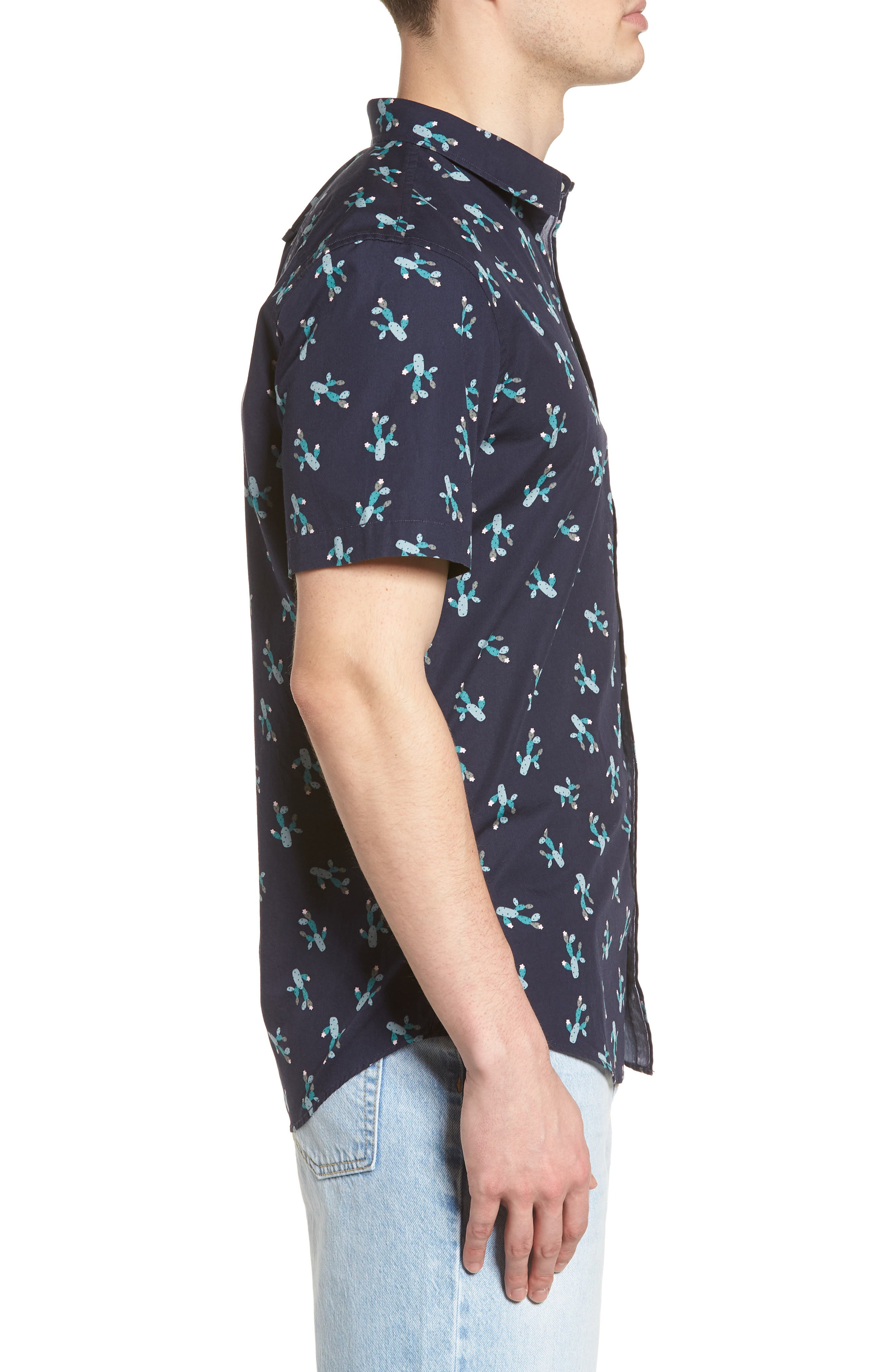 Print Woven Shirt,                             Alternate thumbnail 4, color,                             Navy Iris Cactus Print