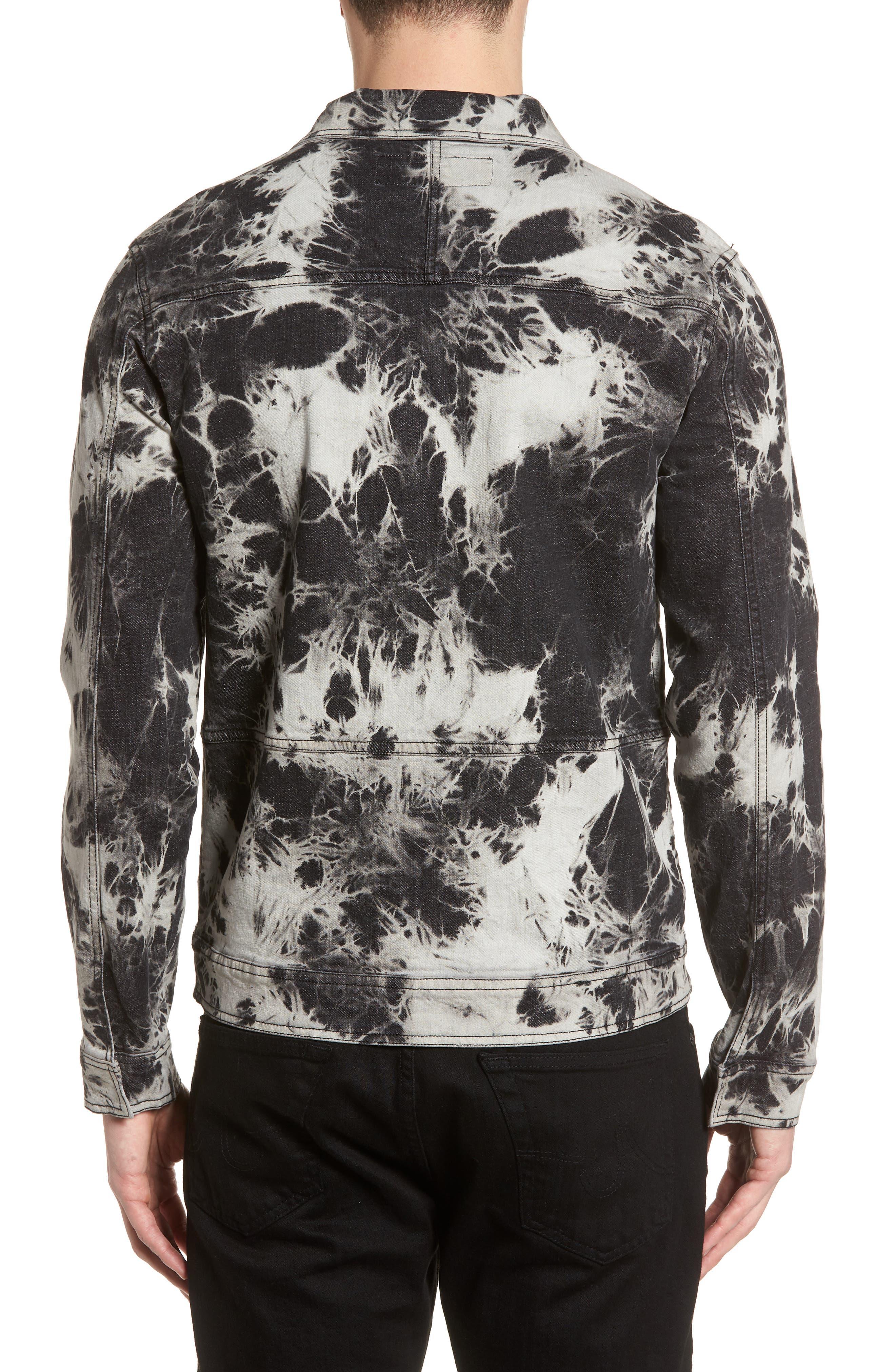 Bleach Tie Dye Denim Jacket,                             Alternate thumbnail 2, color,                             Black