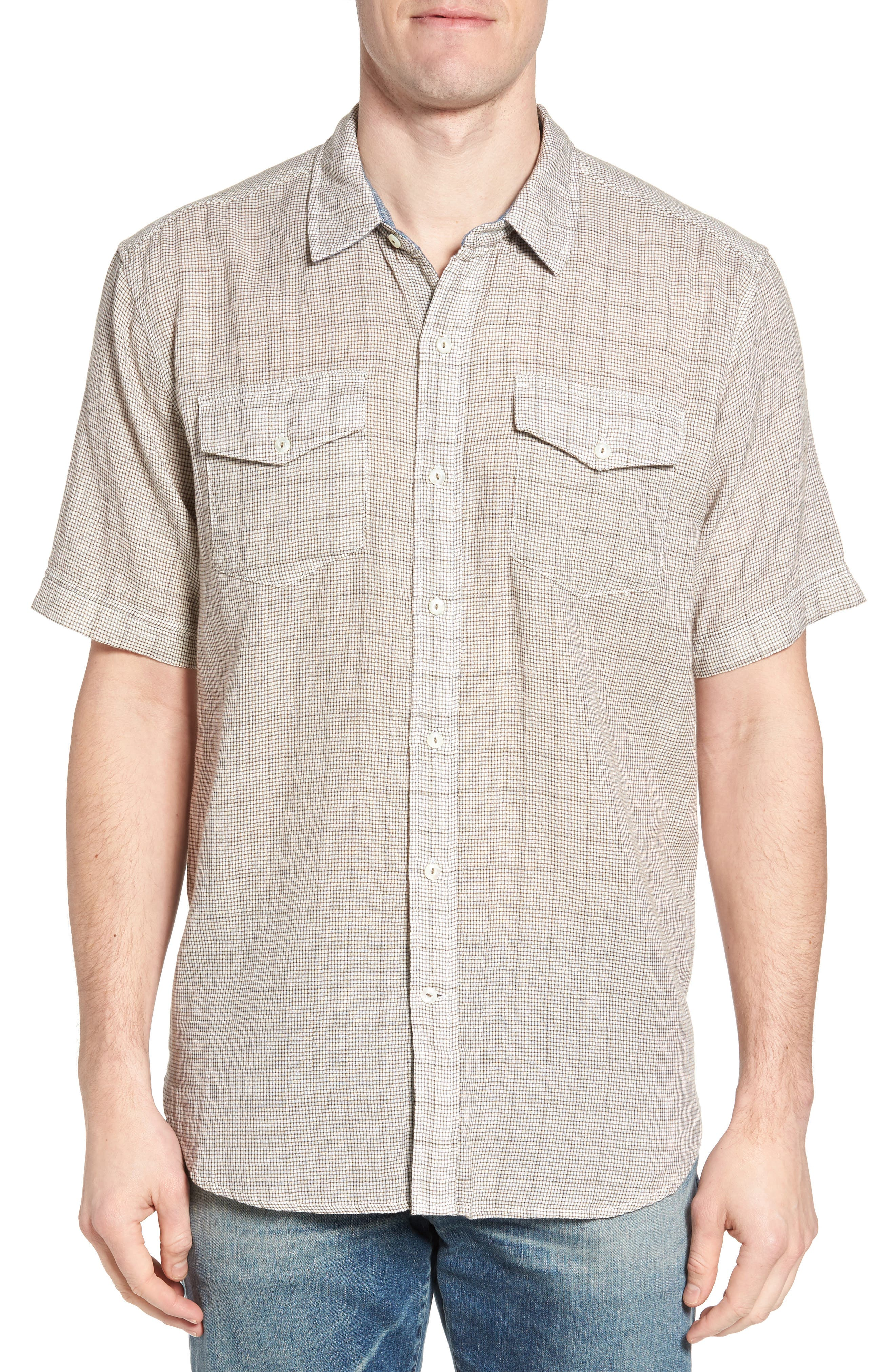 Crossroads Check Sport Shirt,                         Main,                         color, Brown