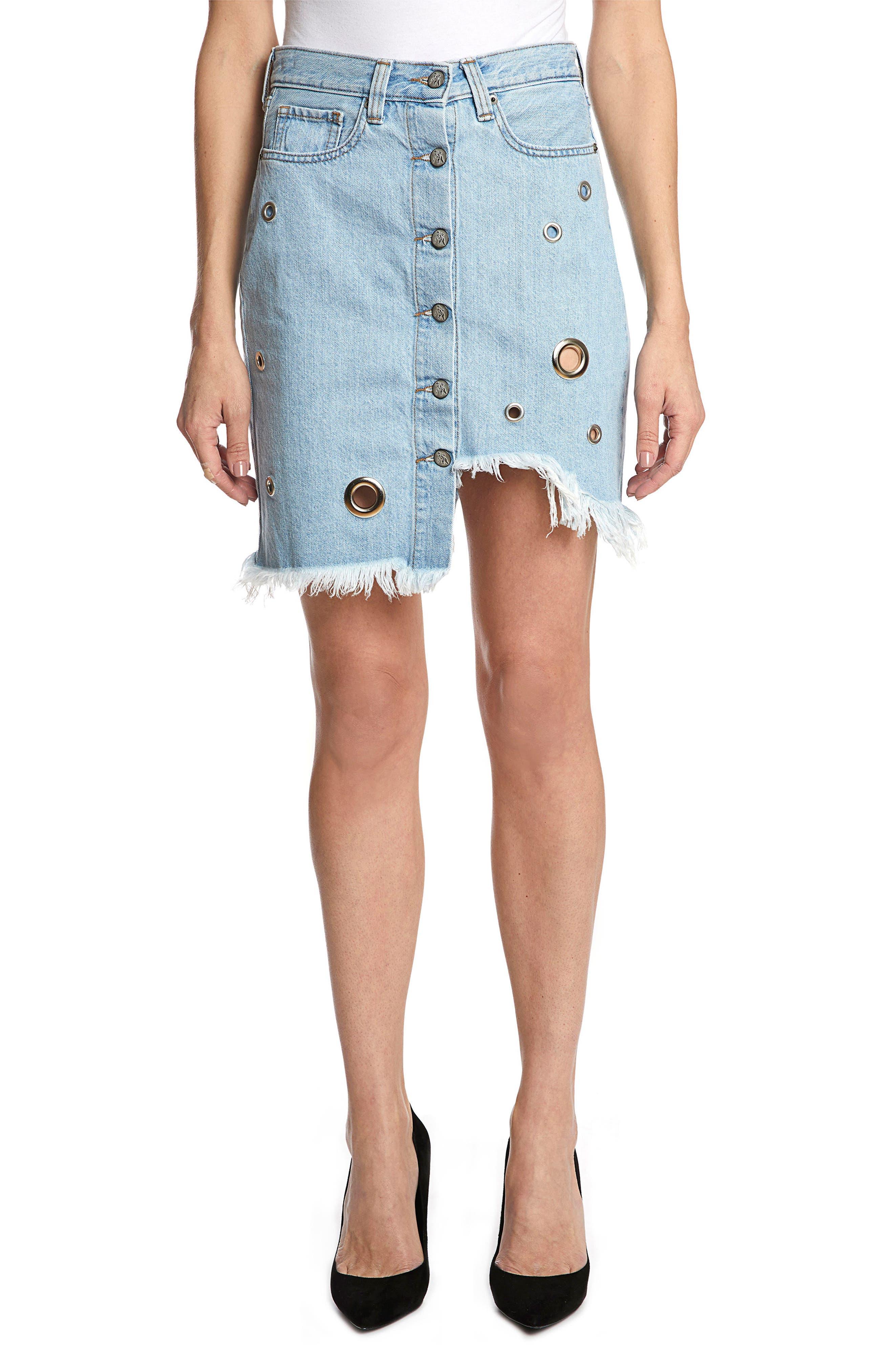 Nomad Grommet Denim Skirt,                             Main thumbnail 1, color,                             Light Stone