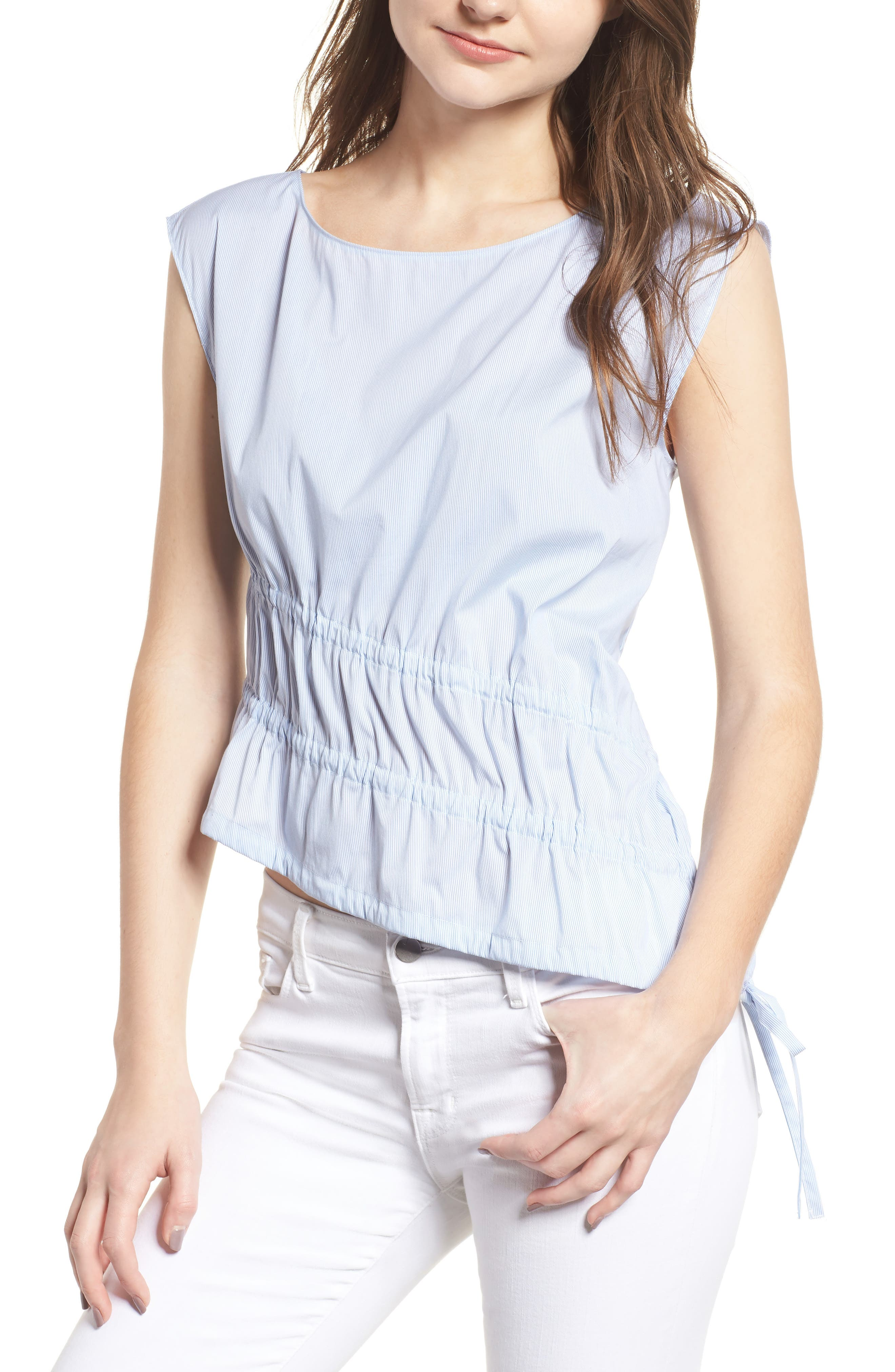 Ruched Poplin Top,                         Main,                         color, Blue/ White Pinstripe