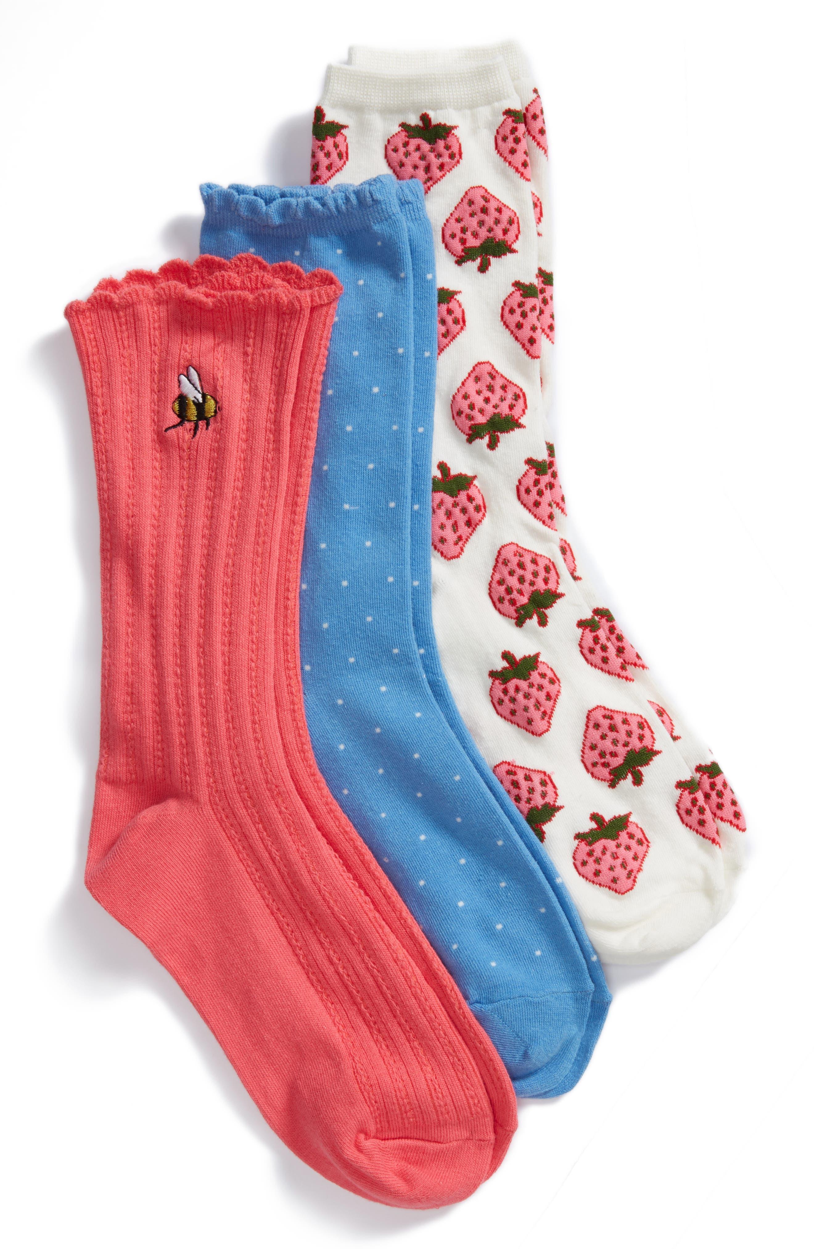 kate spade new york strawberry 3-pack crew socks