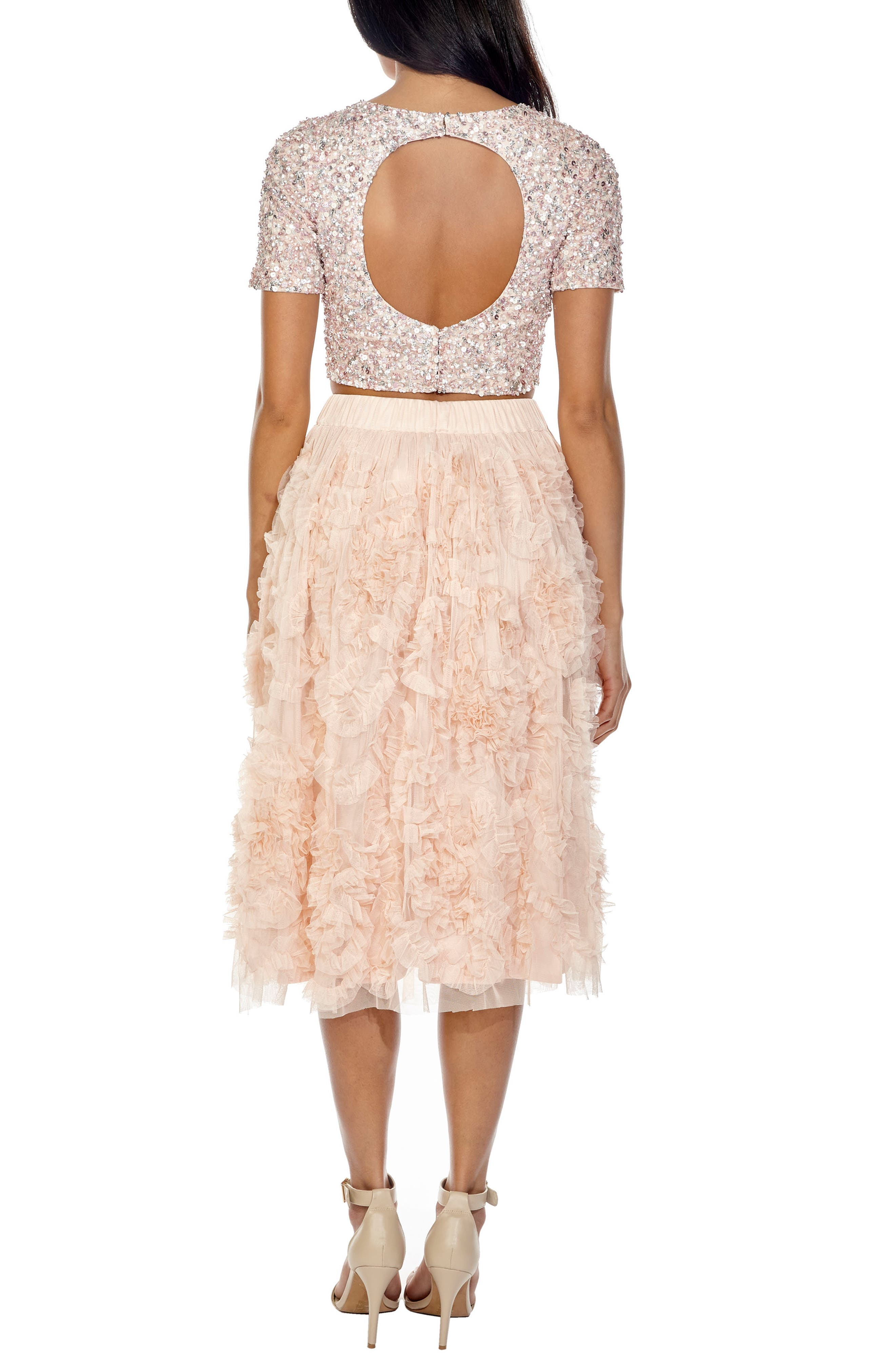 Picasso Sequin Top & Tulle Skirt Combo,                             Alternate thumbnail 2, color,                             Nude