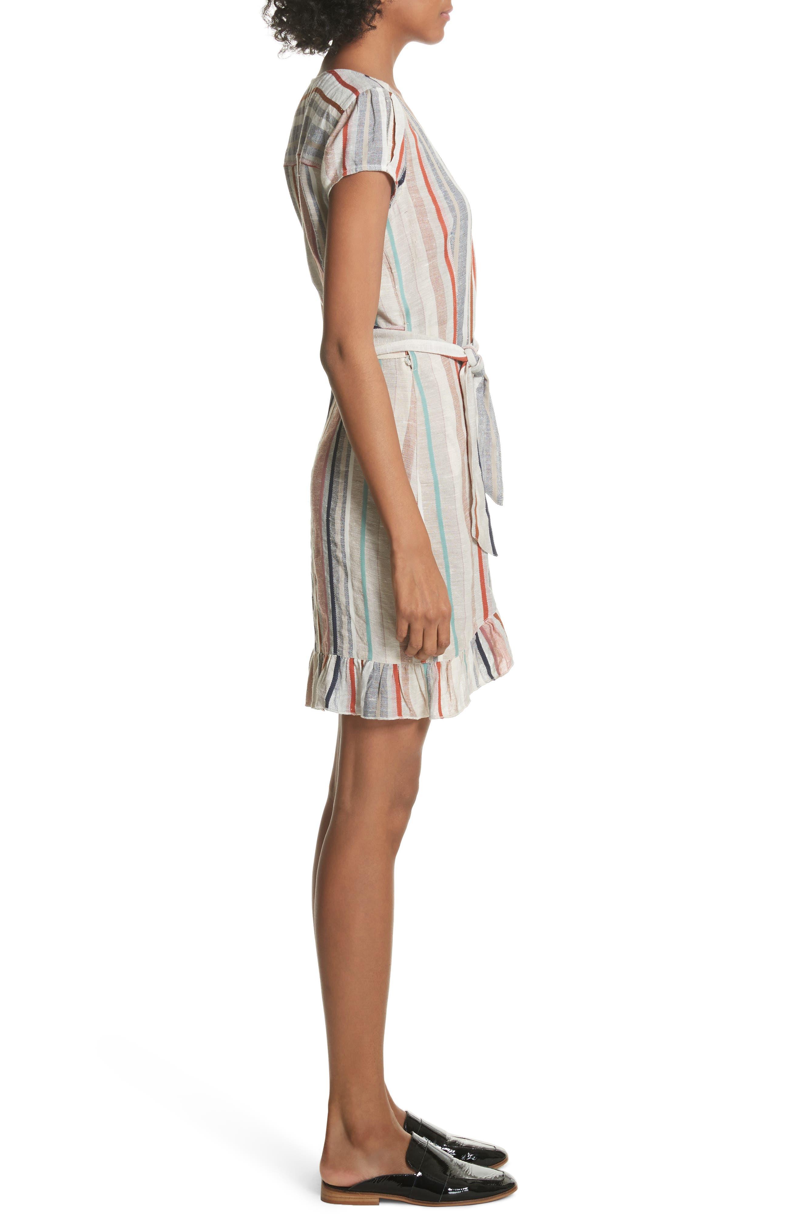 Wrap It Up Stripe Wrap Dress,                             Alternate thumbnail 3, color,                             Assort